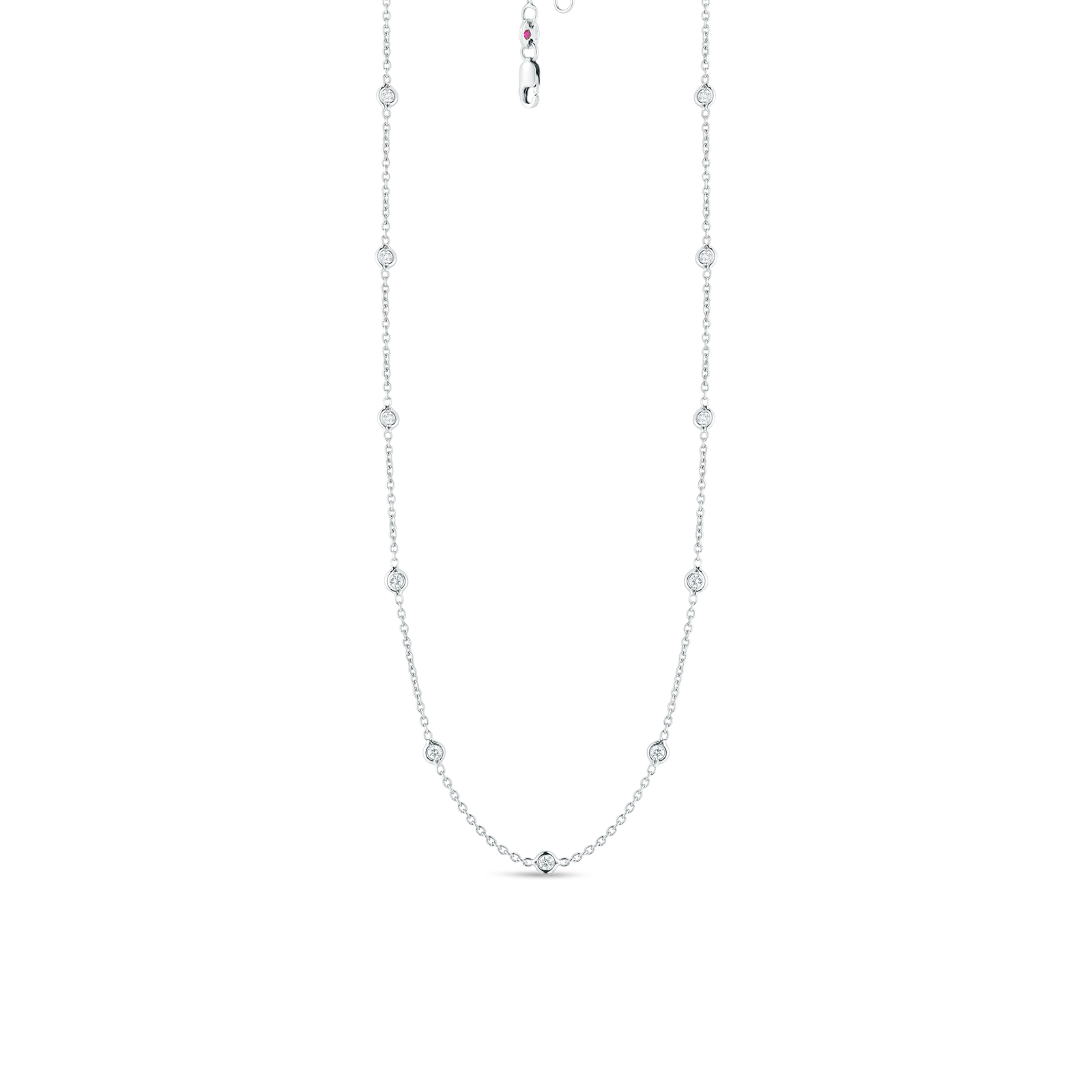 18KT GOLD 15 STATION DIAMOND NECKLACE