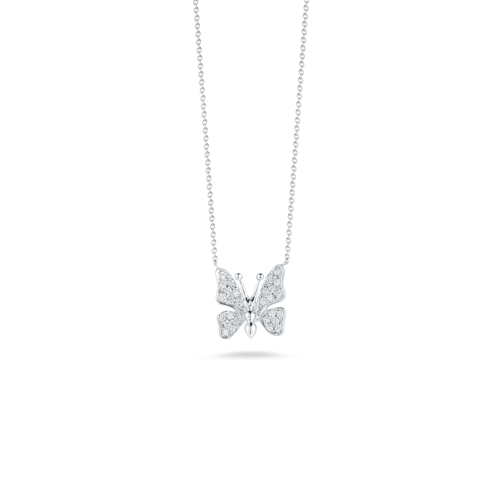 18KT GOLD SMALL SINGLE BUTTERFLY PENDANT WITH DIAMONDS