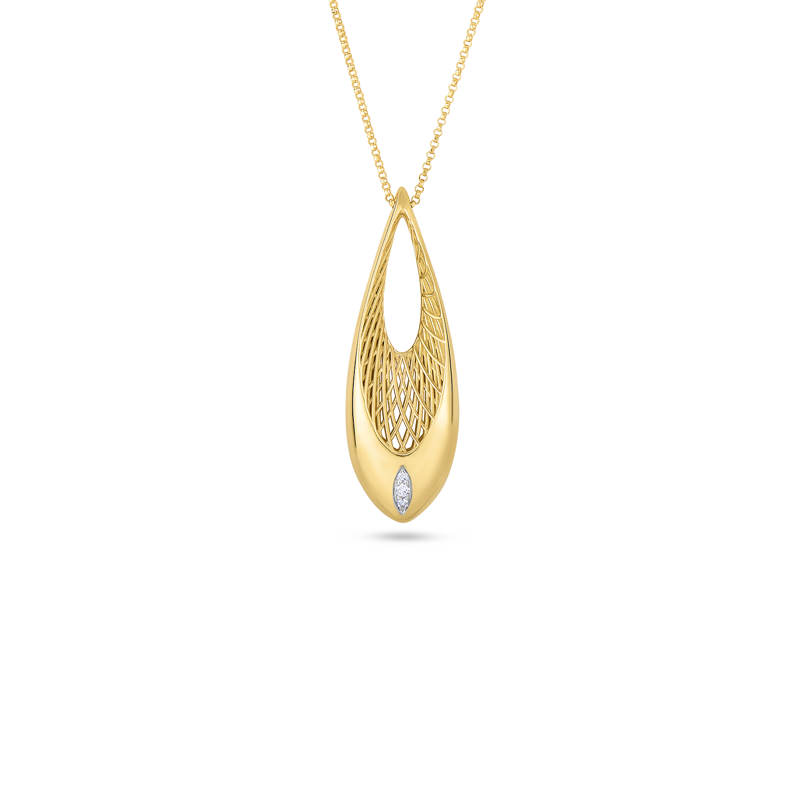 Gold drop pendant with diamonds in golden gate collection roberto coin golden gate 18k yellow gold and 18k aloadofball Choice Image