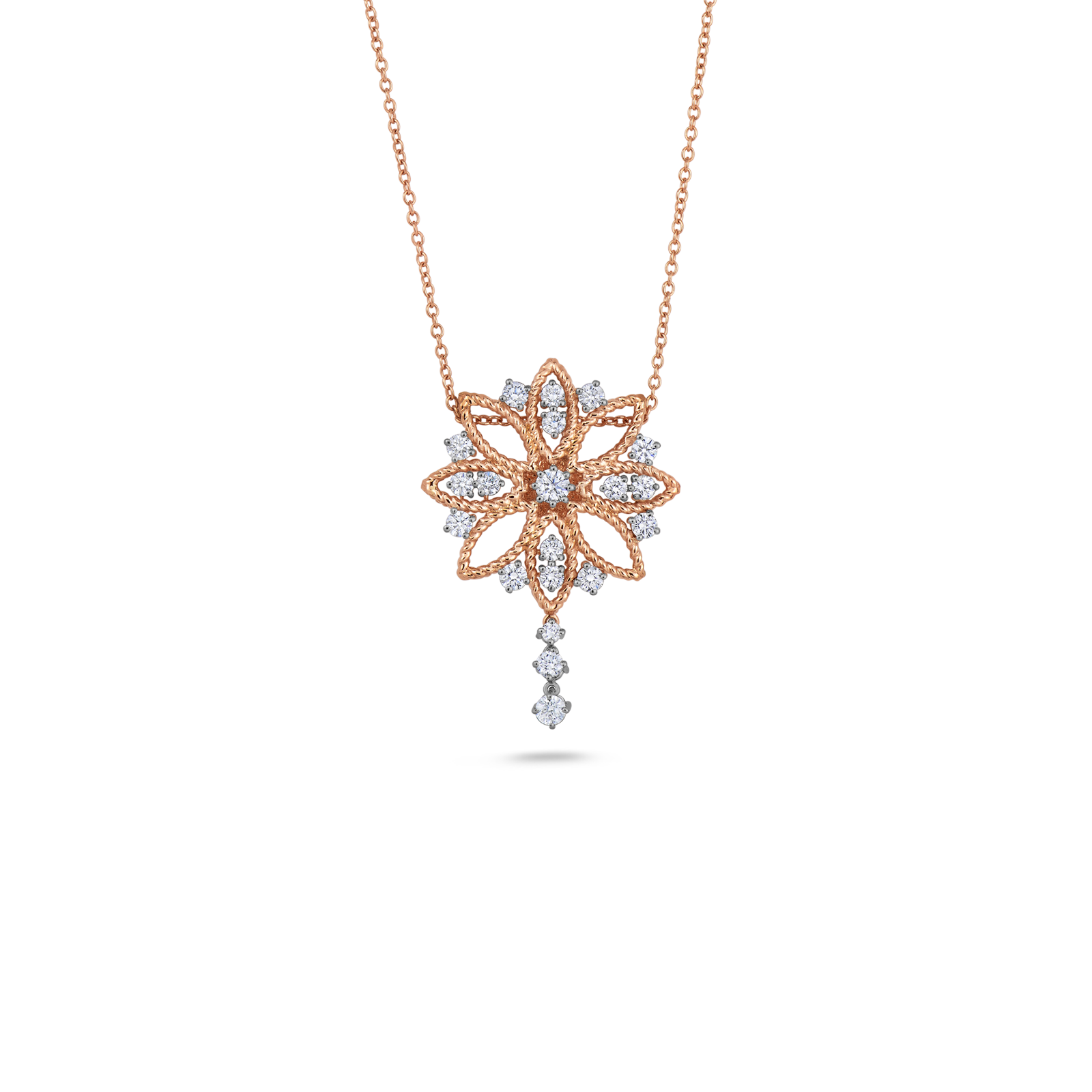 Flower pendant with diamonds roberto coin roberto coin barocco 18k rose gold and 18k mozeypictures Image collections