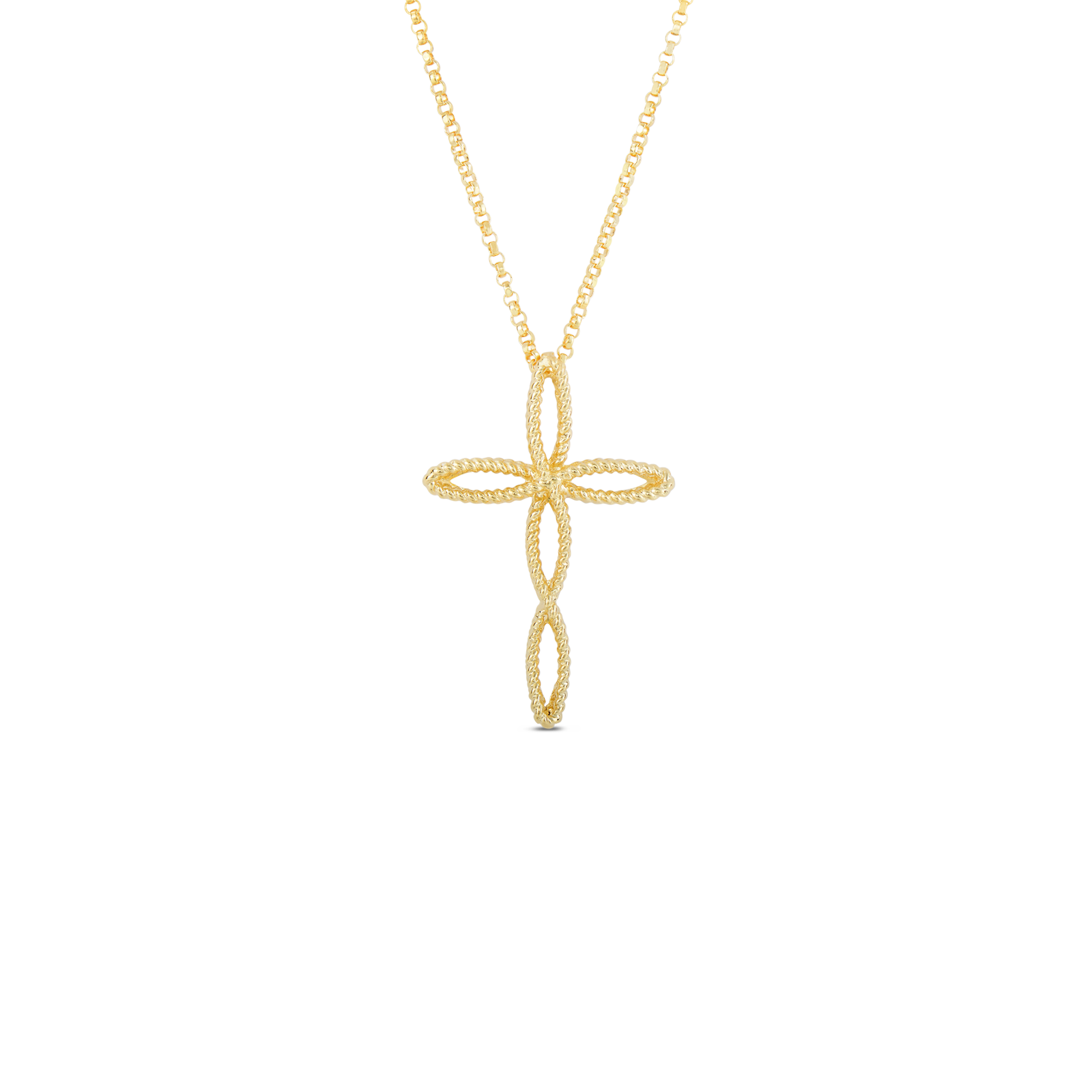 Italian Gold Cross Pendant by Roberto Coin in New Barocco