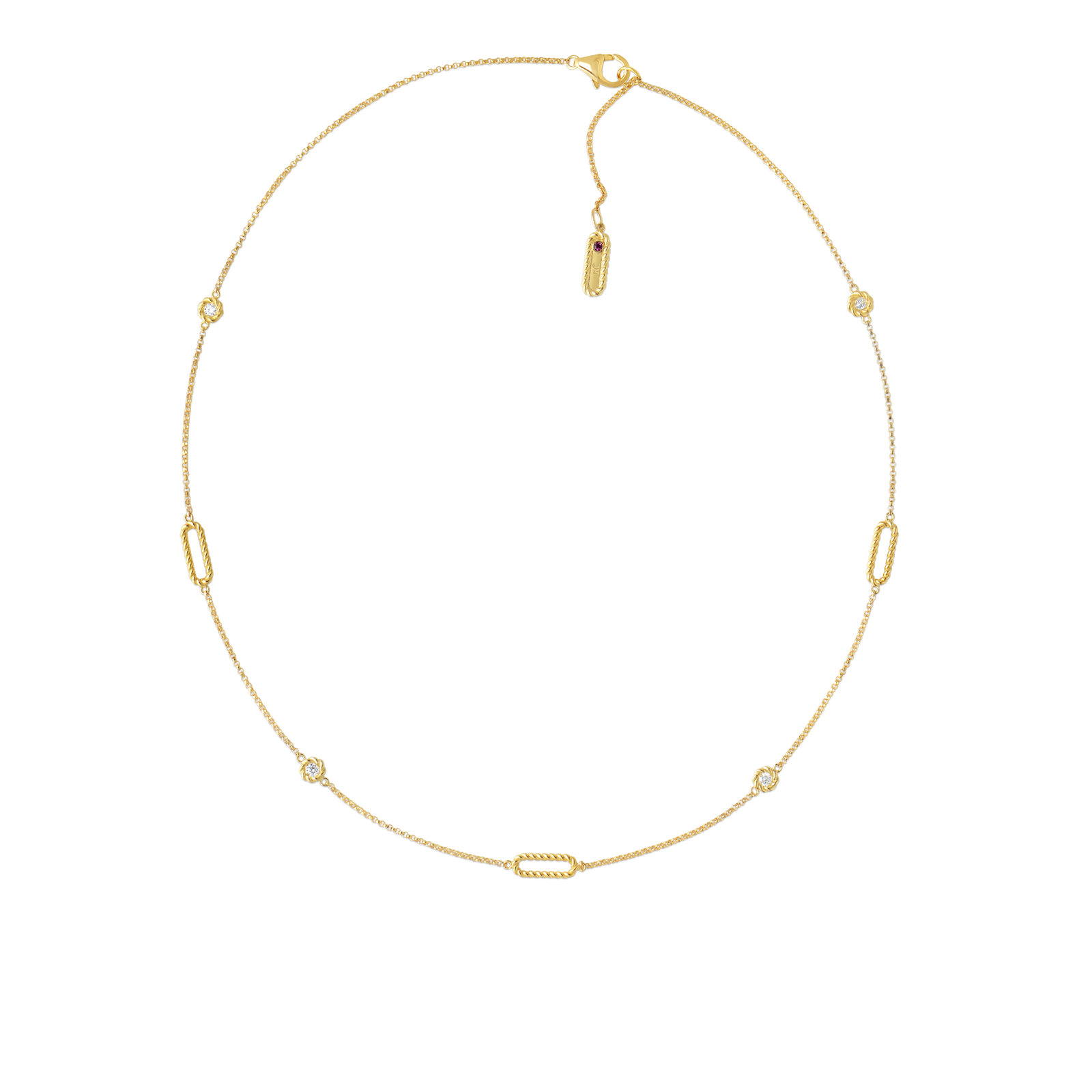 Roberto Coin Barocco 18k Yellow Gold Necklace With Alternating Diamond Stations