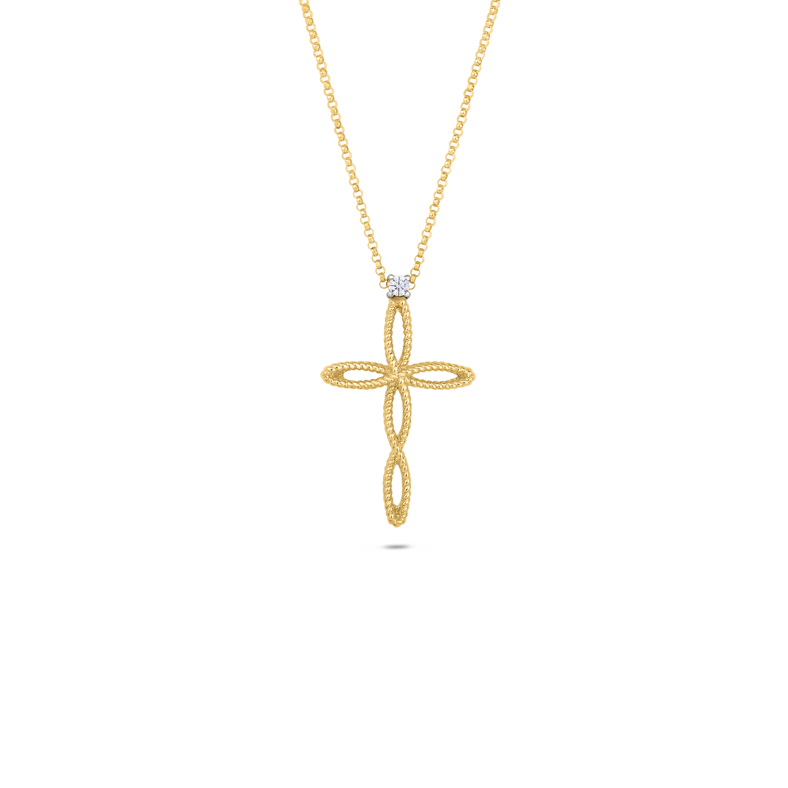Italian gold cross pendant with diamonds by roberto coin roberto coin barocco 18k yellow gold and 18k audiocablefo