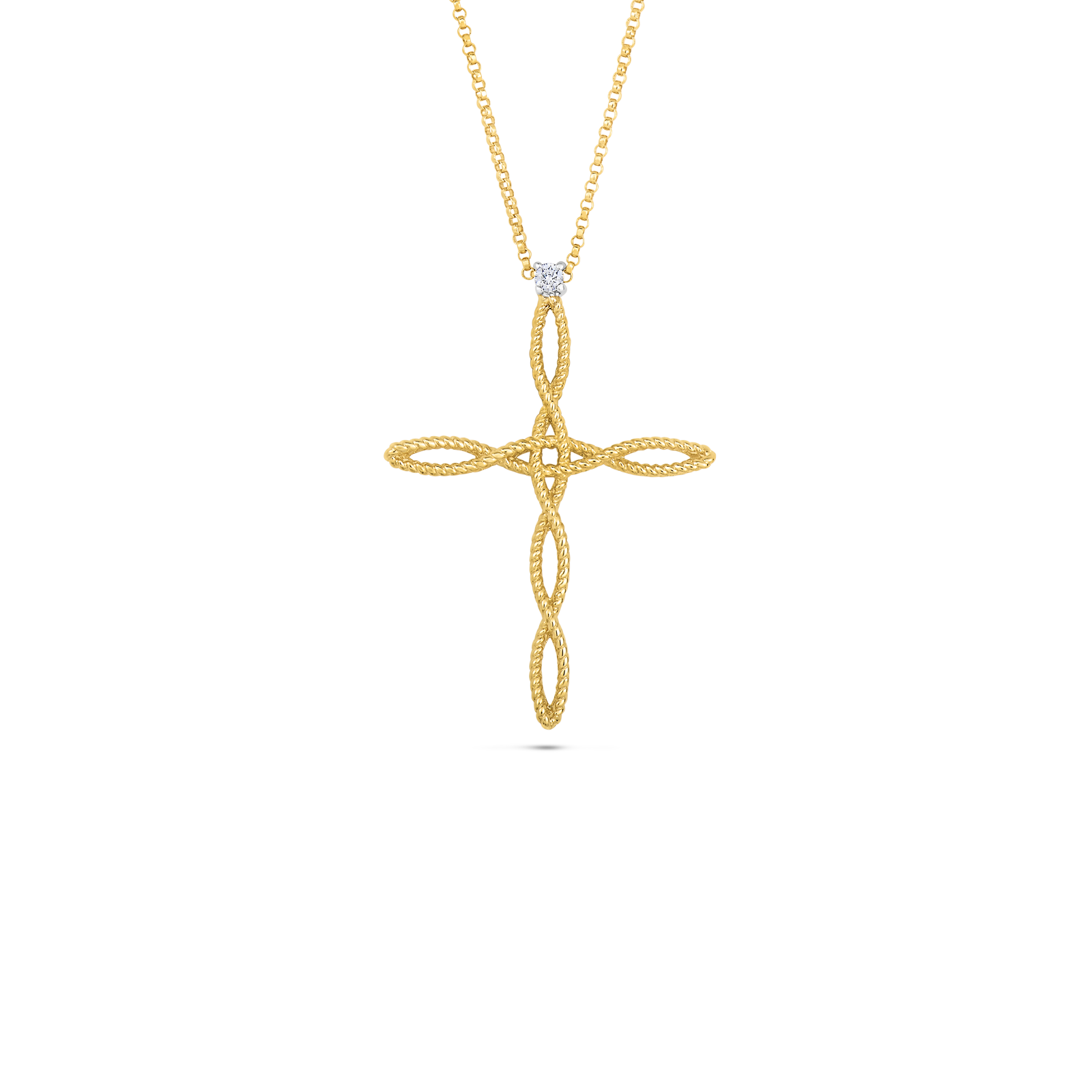 Cross pendant with diamonds roberto coin roberto coin barocco 18k yellow gold and 18k aloadofball