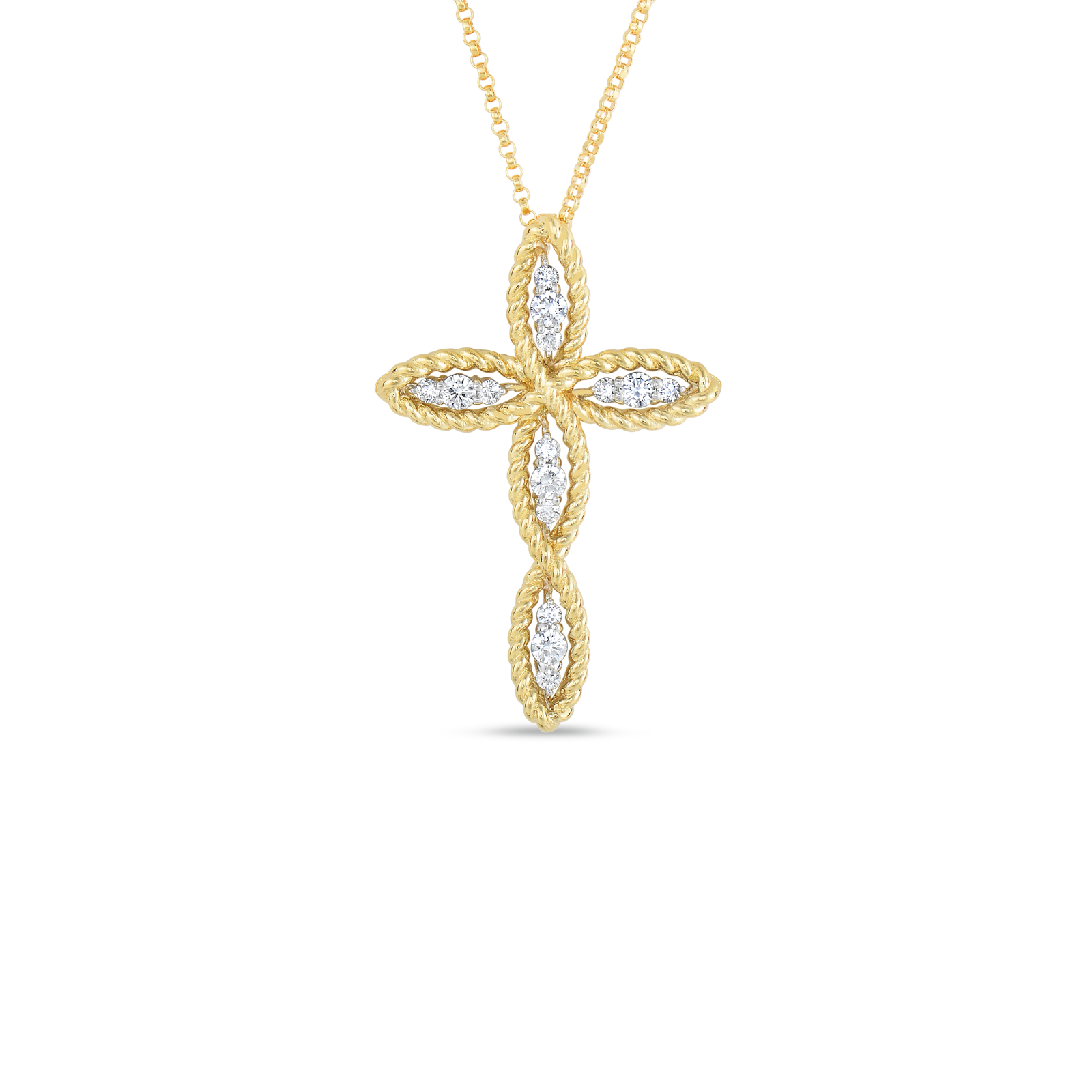 Buy gold cross pendant with diamonds by roberto coin roberto coin barocco 18k yellow gold and 18k audiocablefo