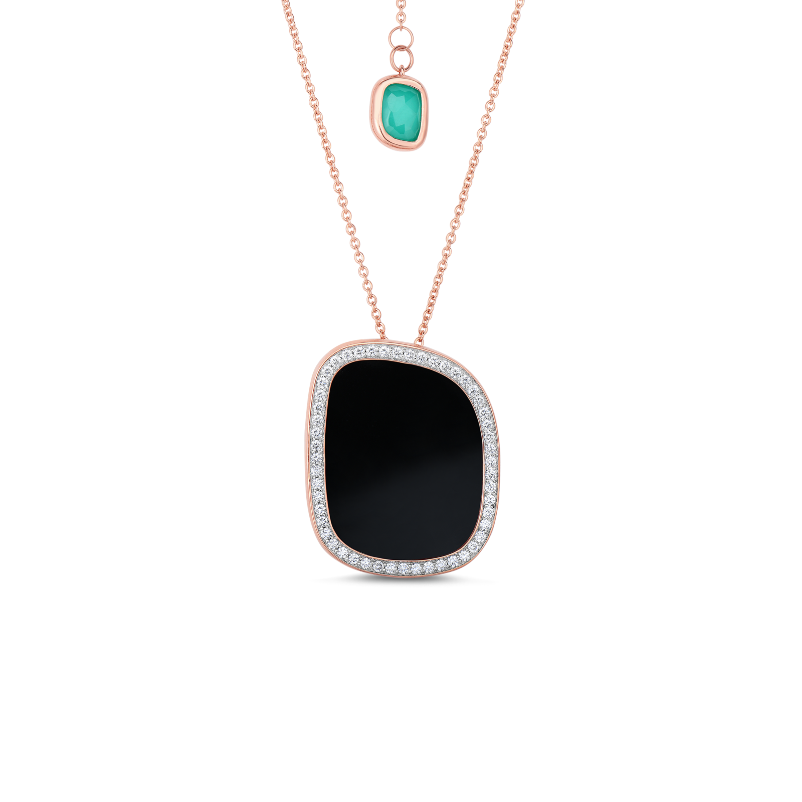 Roberto Coin Black Jade 18k Rose Gold Small Pendant With Mother Of Pearl And Diamonds