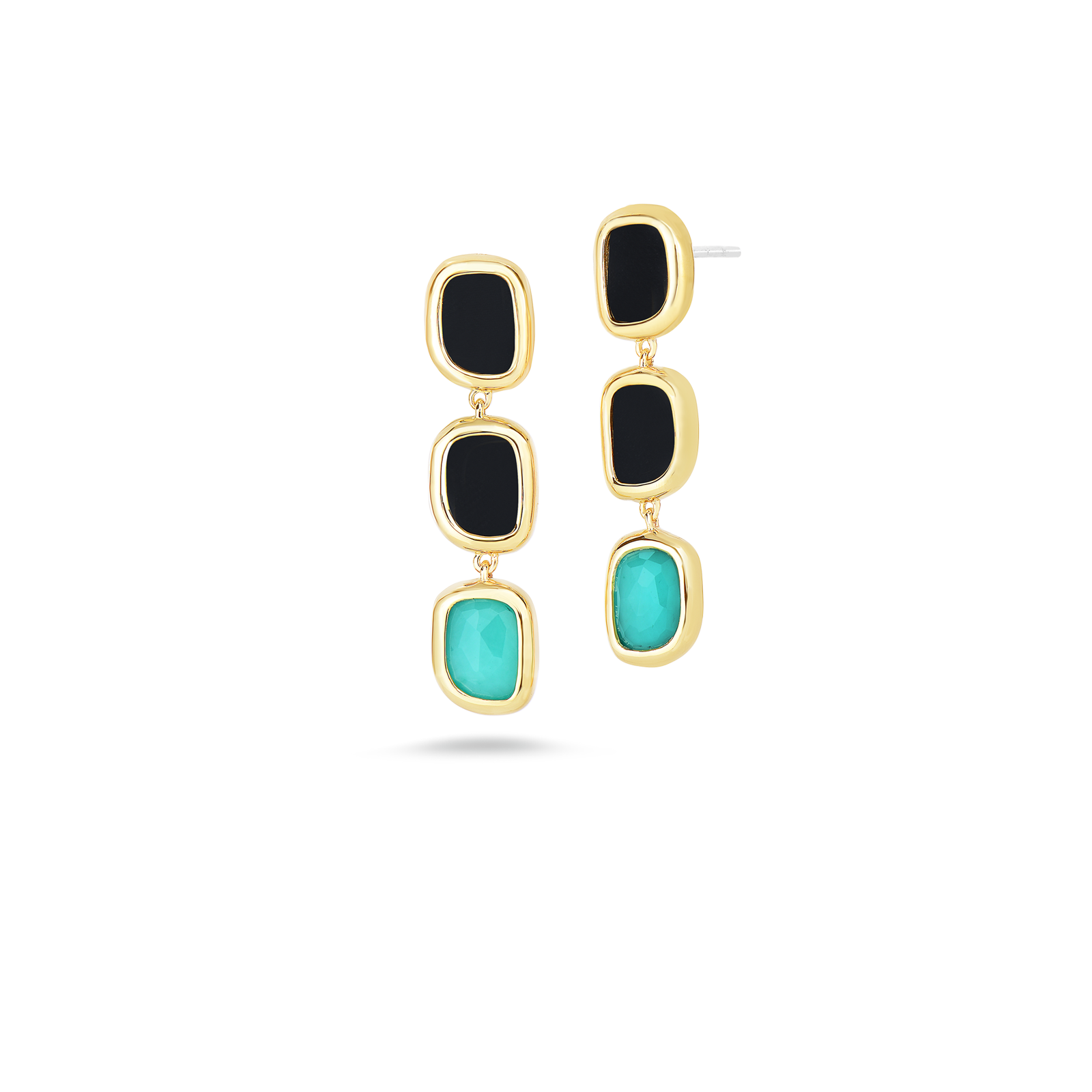 Roberto Coin Black Jade 18k Yellow Gold Drop Earrings With Black Jade And Quartz And Diamonds