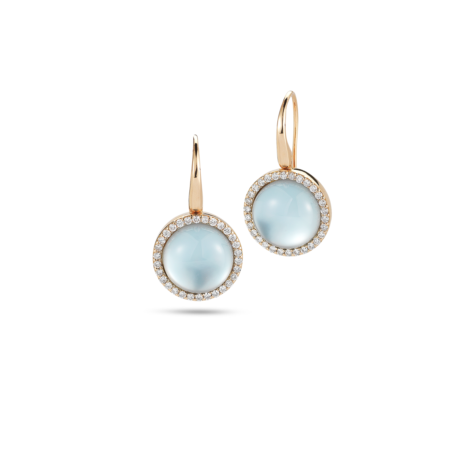 Cocktailearrings With Diamonds, Topaz And Mother Of Pearl