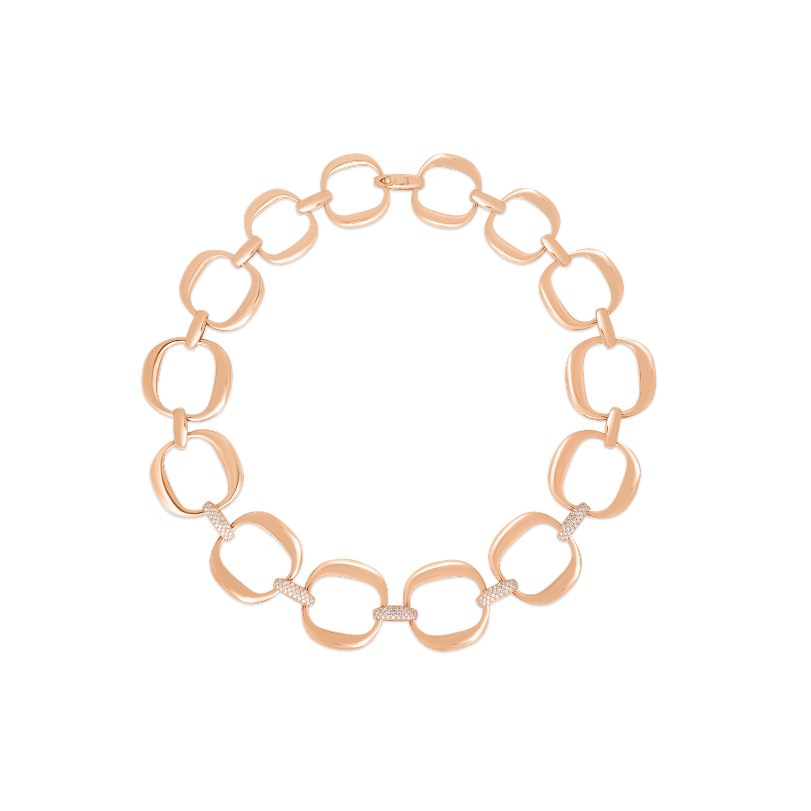 Roberto-Coin-Designer-Gold-18K-Rose-Gold-Linke-Necklace-with-Diamonds-915035AX18X0