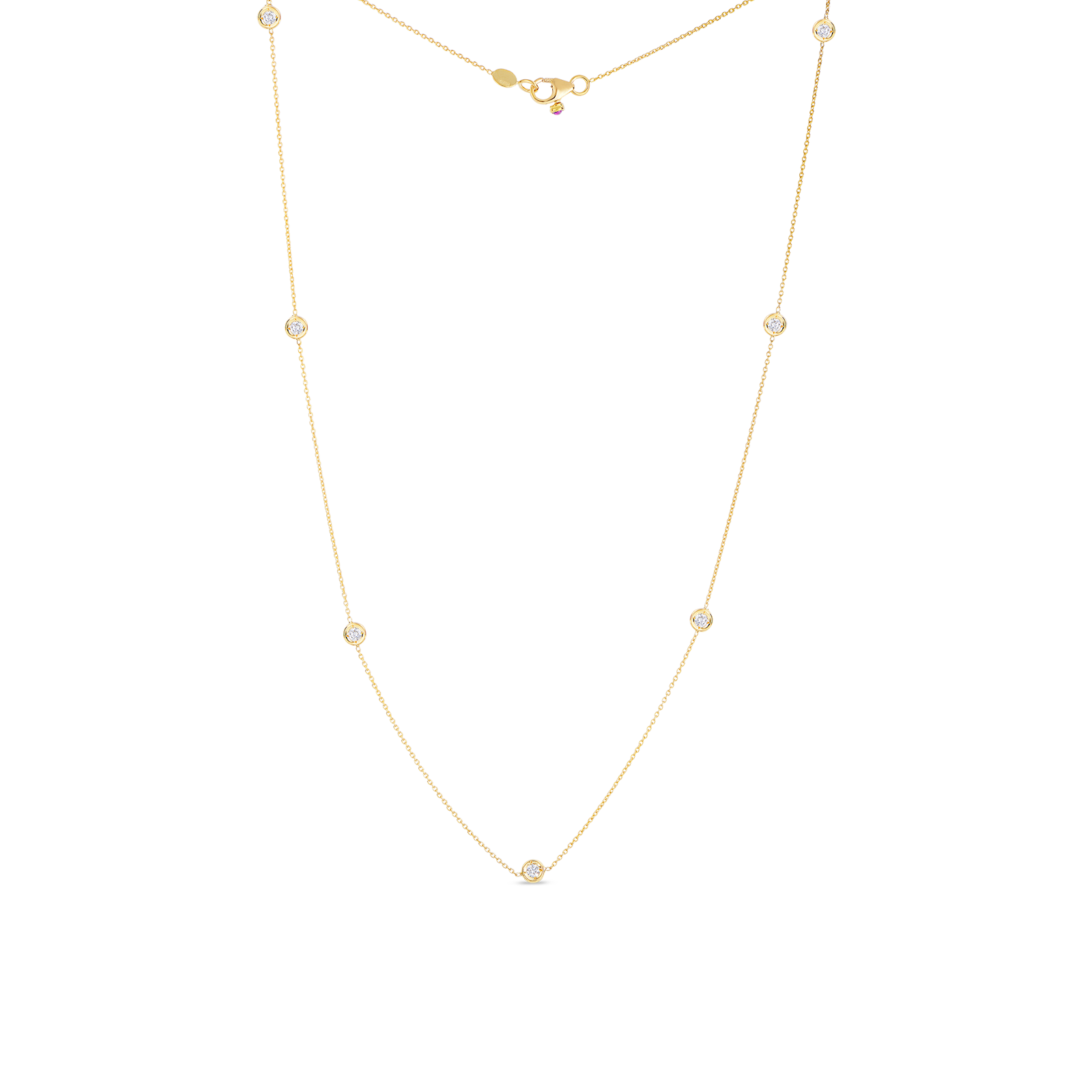 Gold Necklace with 7 Diamond Stations by Roberto Coin