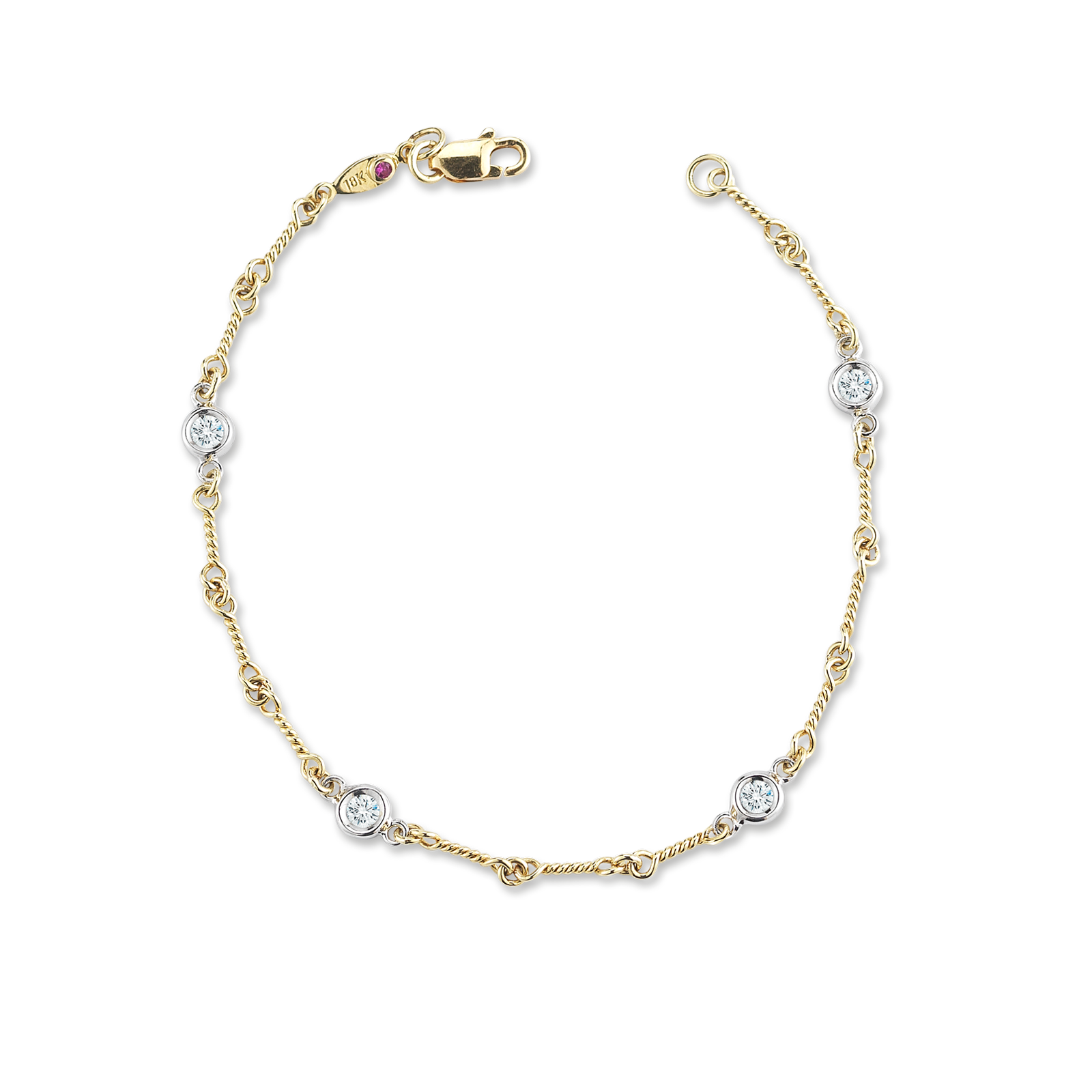 White Gold Chain Bracelet: Dogbone Chain Bracelet With Diamond Stations In Italian Gold