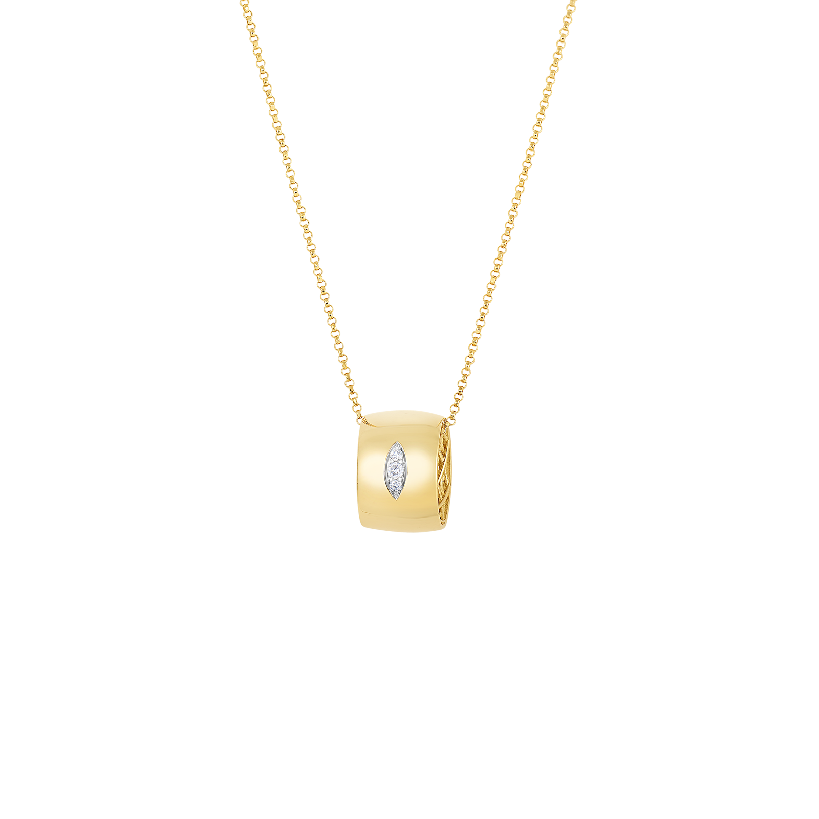 Wide Gold Pendant With Diamonds