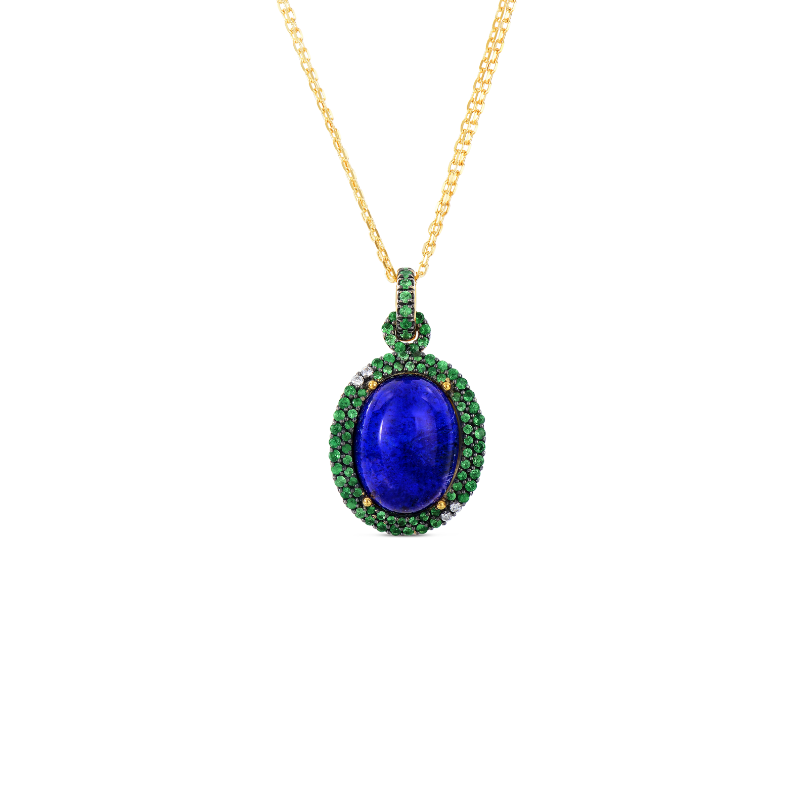 Art deco drop pendant with lapis and tsavorite in robero coin roberto coin haute couture 18k yellow gold art aloadofball