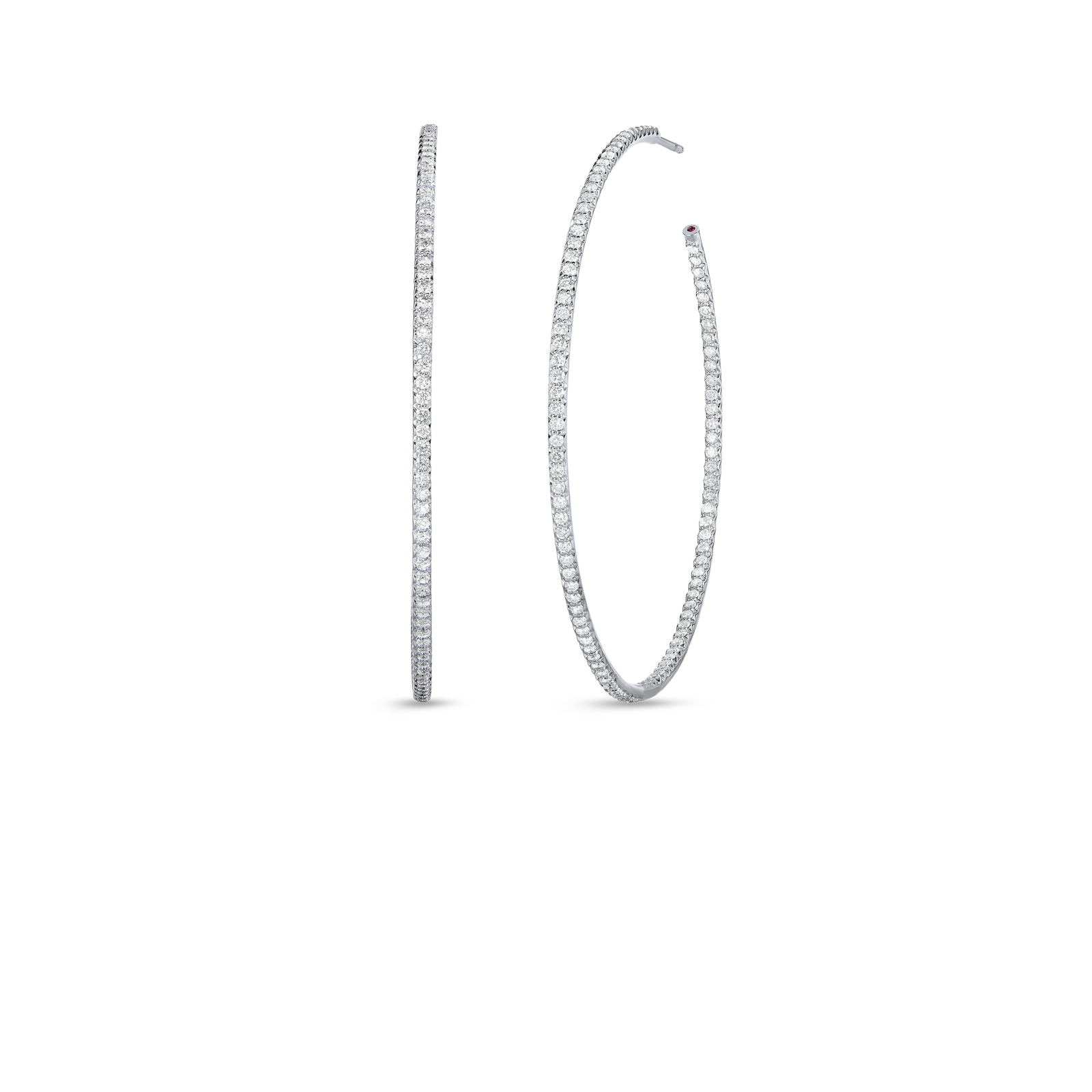 Roberto Coin Perfect Diamond Hoops 18k White Gold