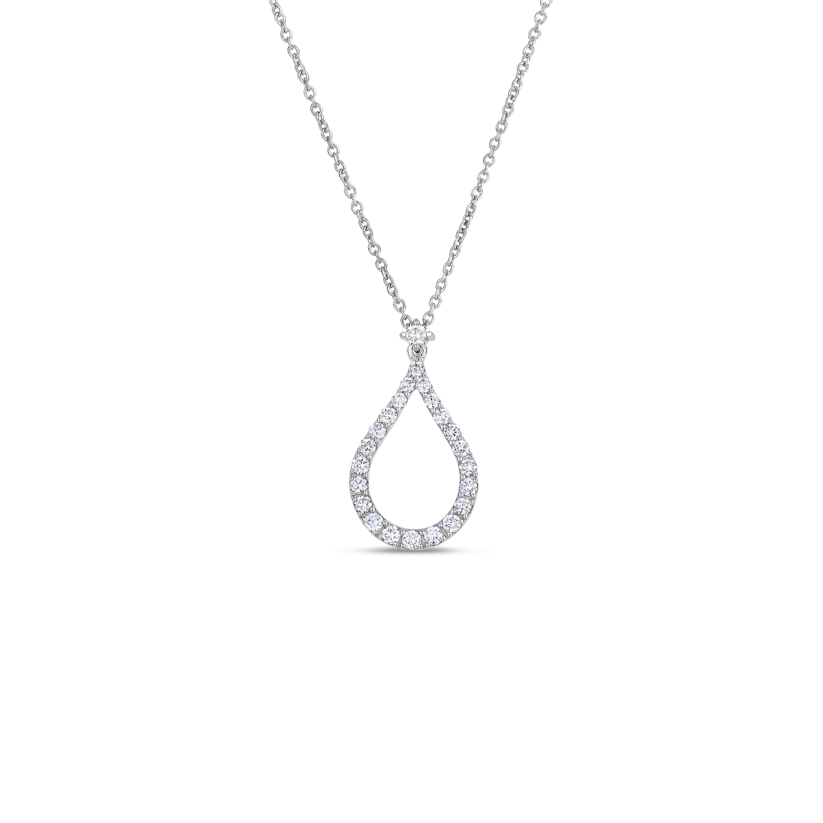 Roberto Coin Tiny Treasures 18k White Gold Art Deco Pendant With Diamonds
