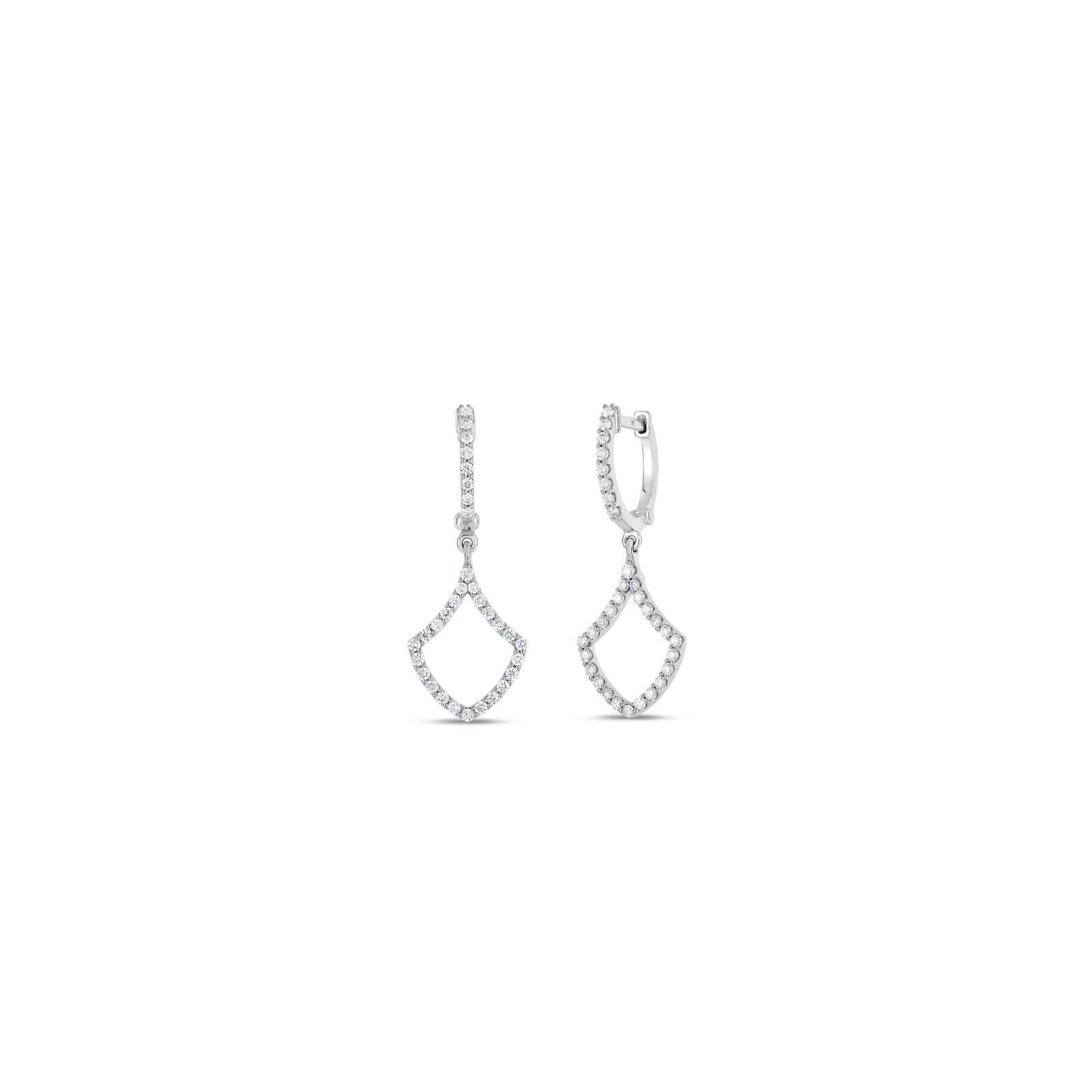 Roberto Coin Tiny Treasures 18k White Gold Drop Earrings With Diamonds