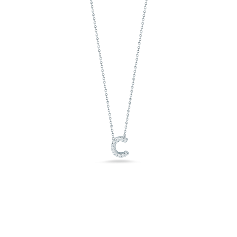 love letter c pendant with diamonds   roberto coin