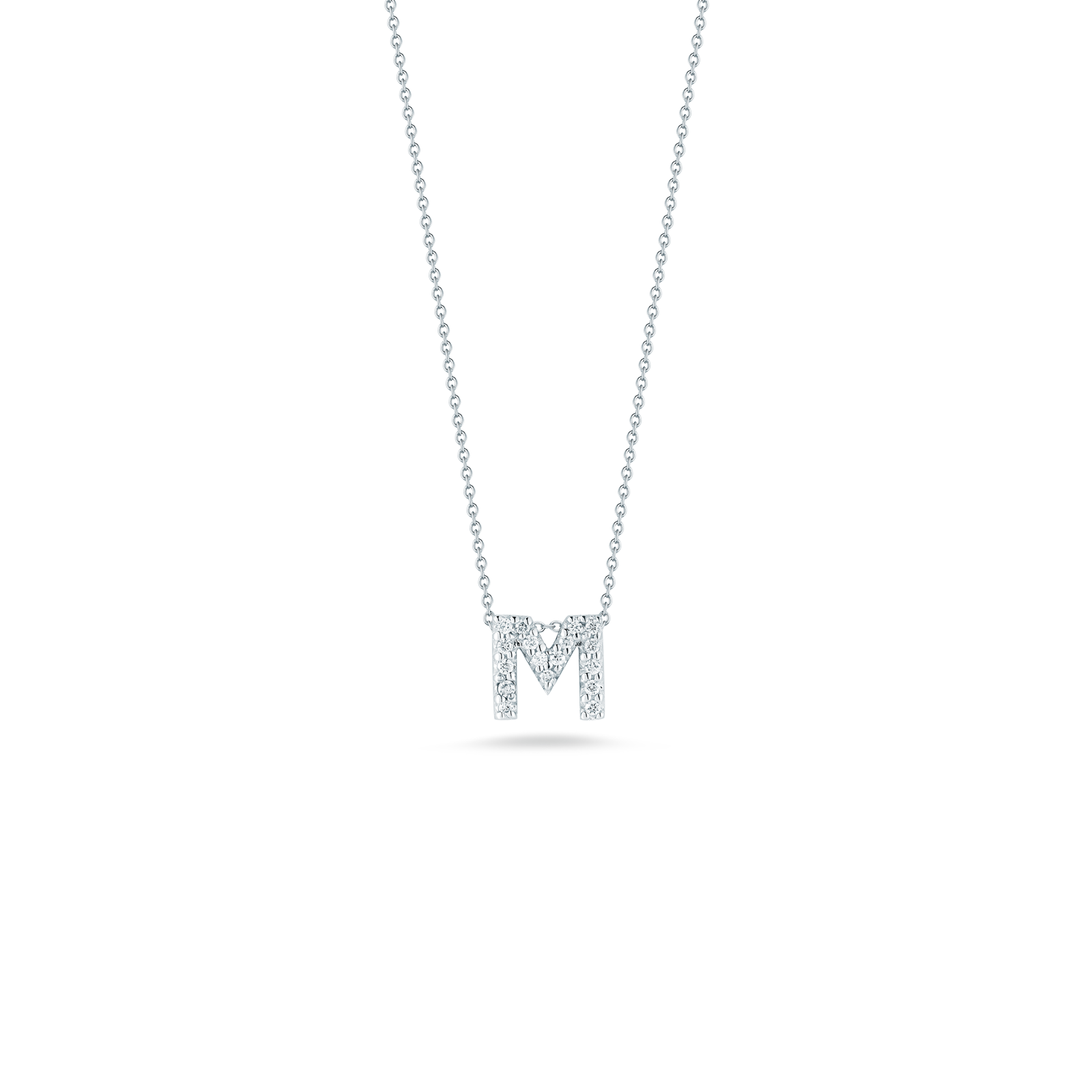 Italian Gold Love Letter M Pendant With Diamonds For Gift