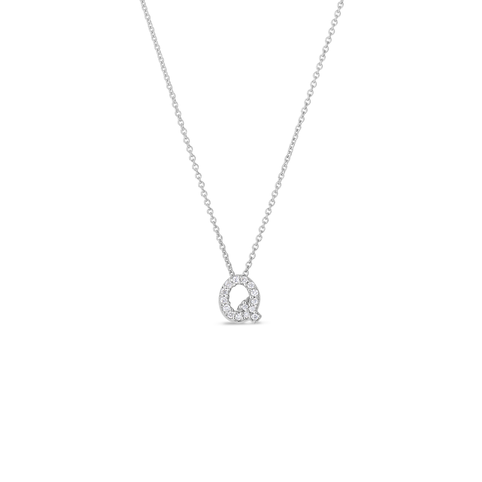 gifts love letter q pendant with diamonds roberto coin