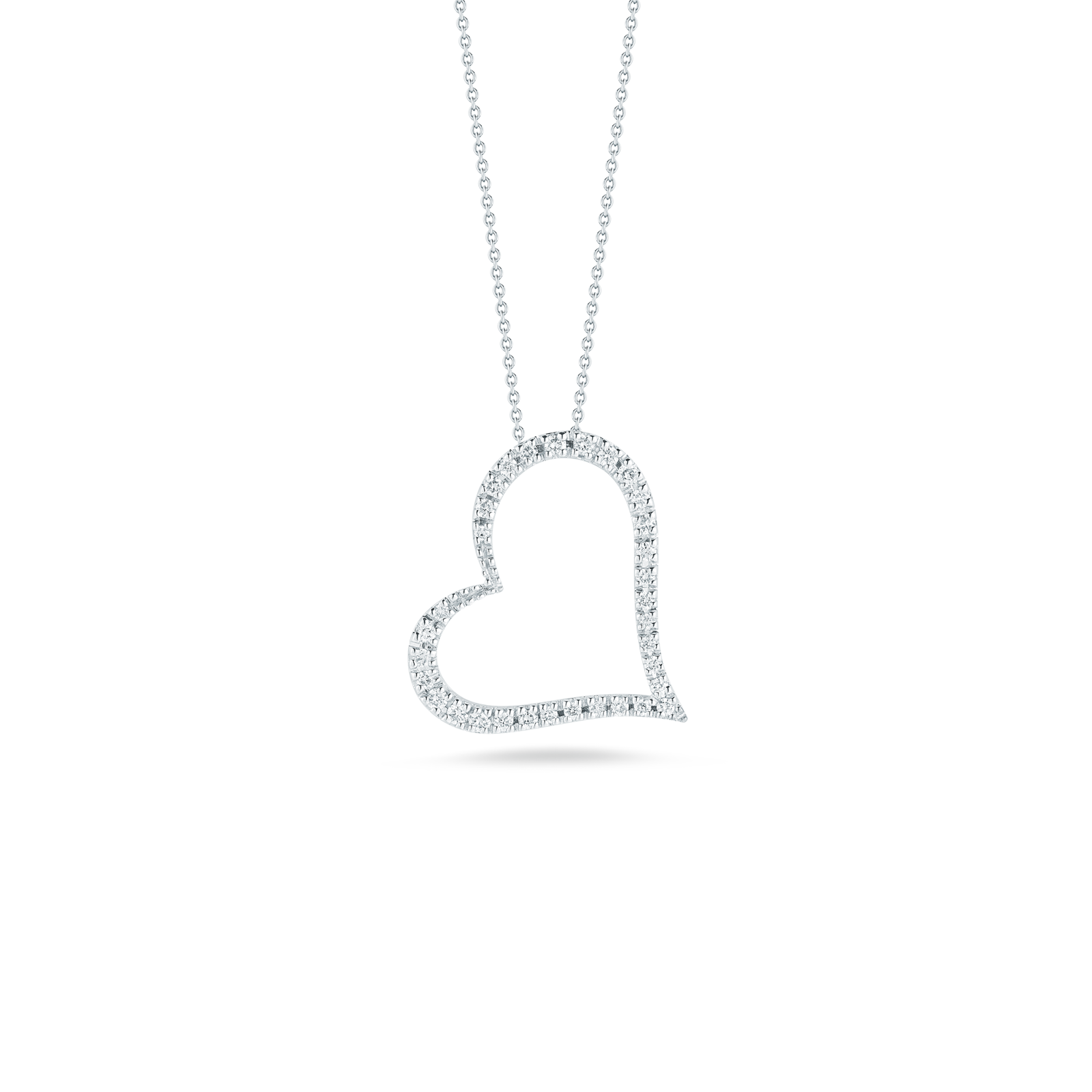 Roberto Coin s Slanted Heart Pendant with Diamonds in Gold