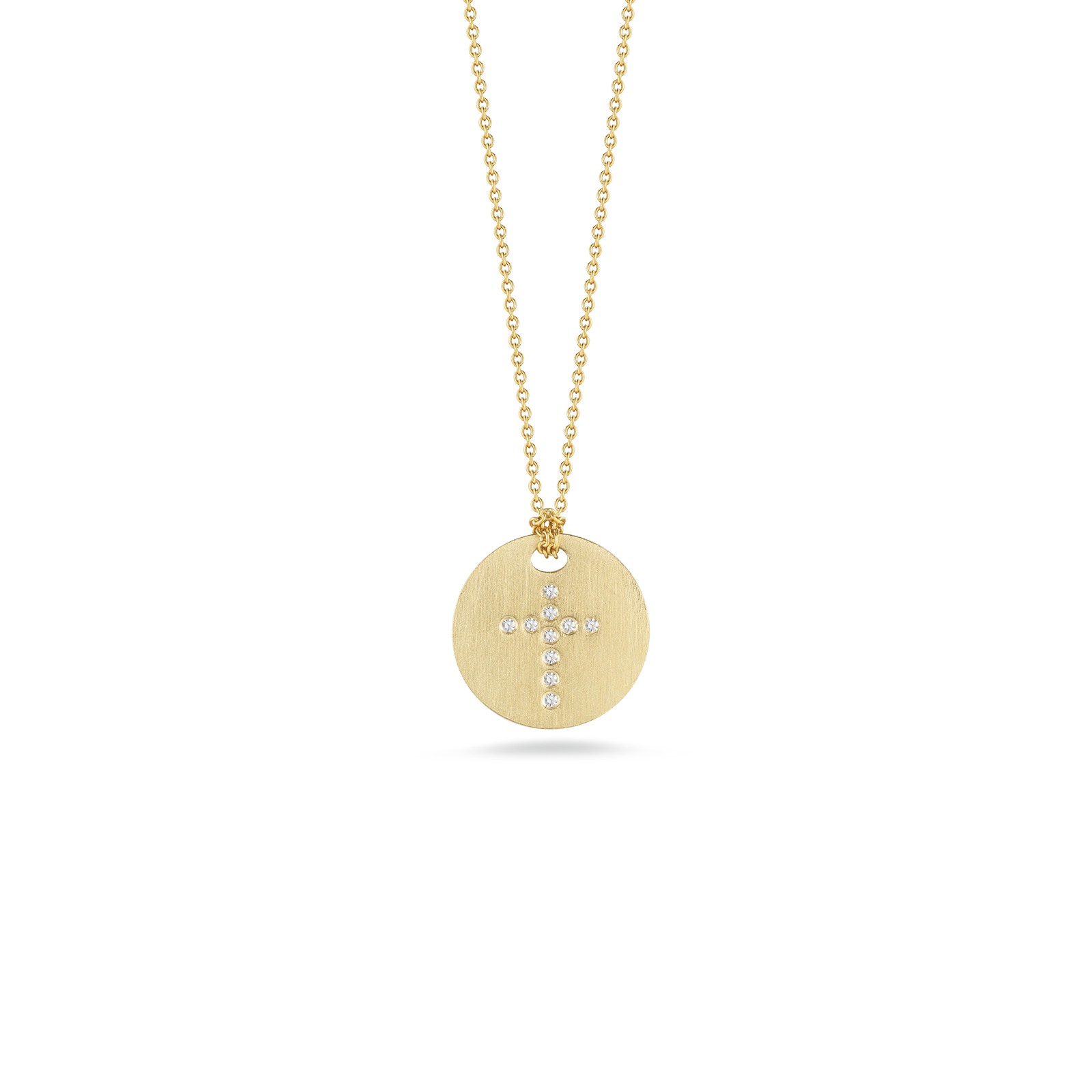 Italian Gold Disc Pendant With Diamond Cross Roberto Coin