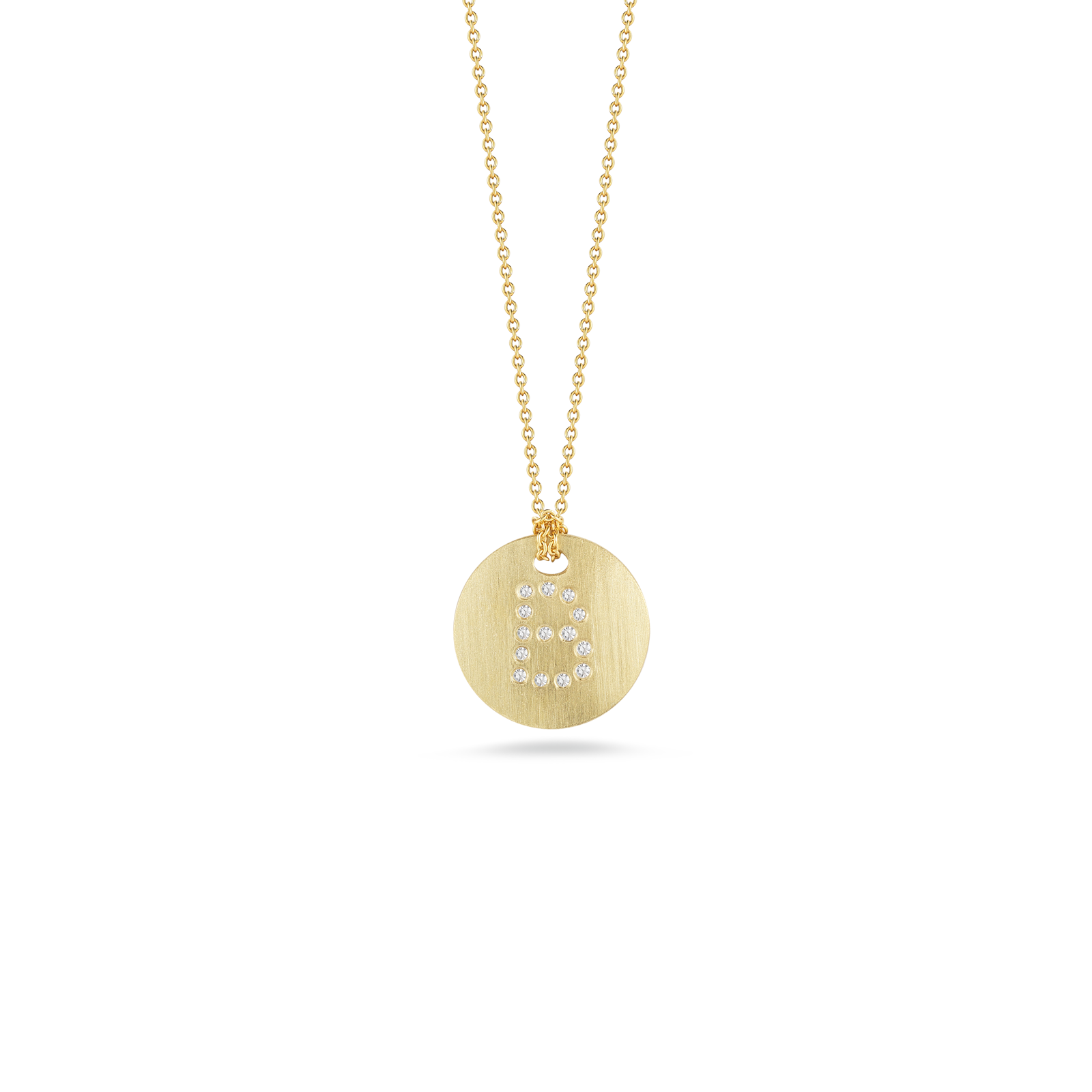 Roberto Coin Princess 18K Yellow Gold Diamond Initial Necklace, B