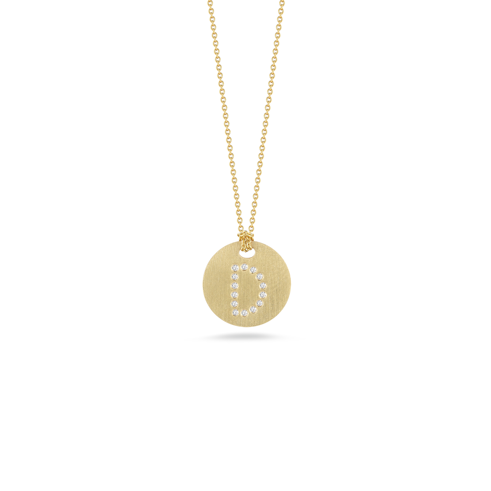 Disc pendant is inscribed with the letter d in gift collection roberto coin tiny treasures 18k yellow gold disc mozeypictures Choice Image