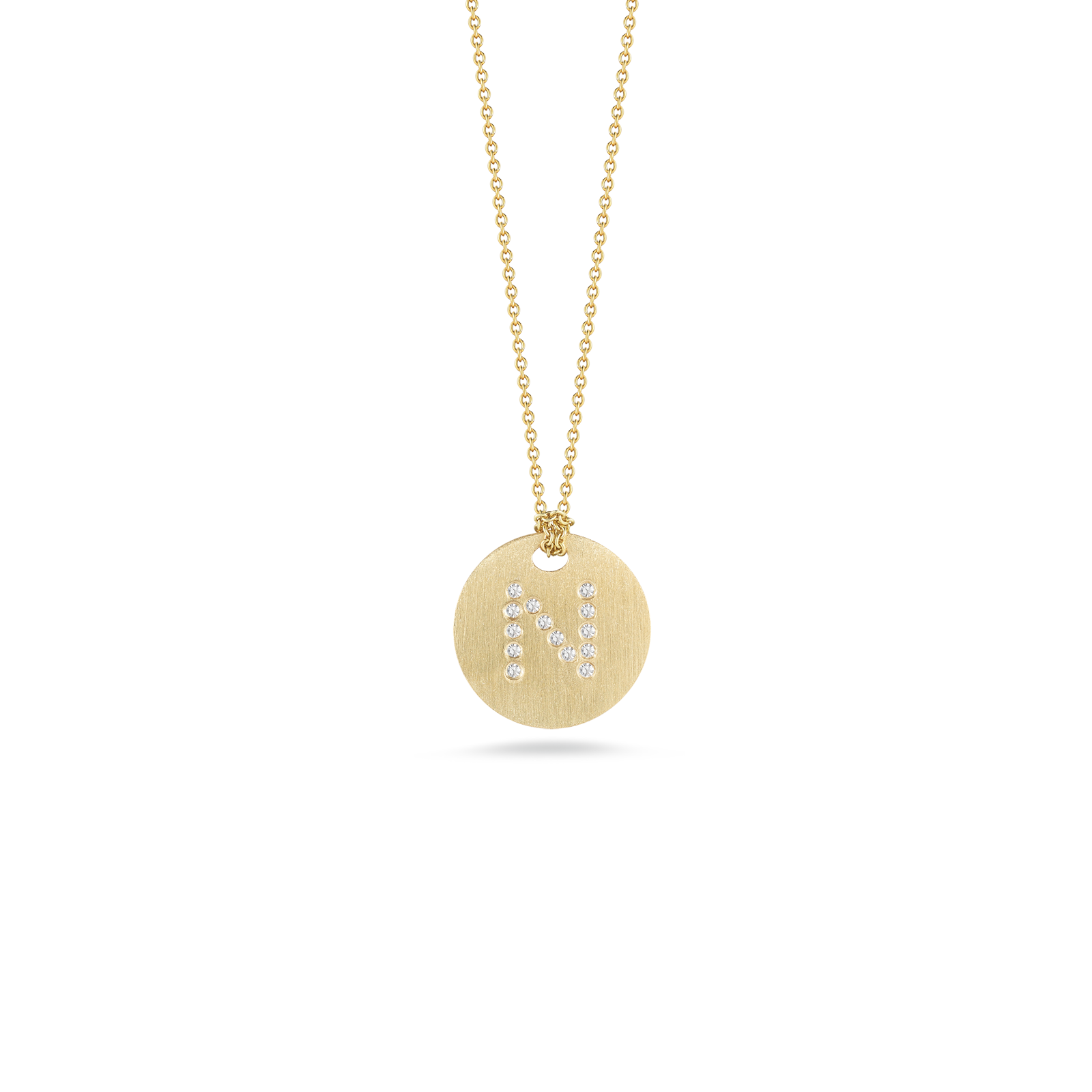 Roberto coins italian gold disc pendant with diamond initial n roberto coin tiny treasures 18k yellow gold disc aloadofball Gallery