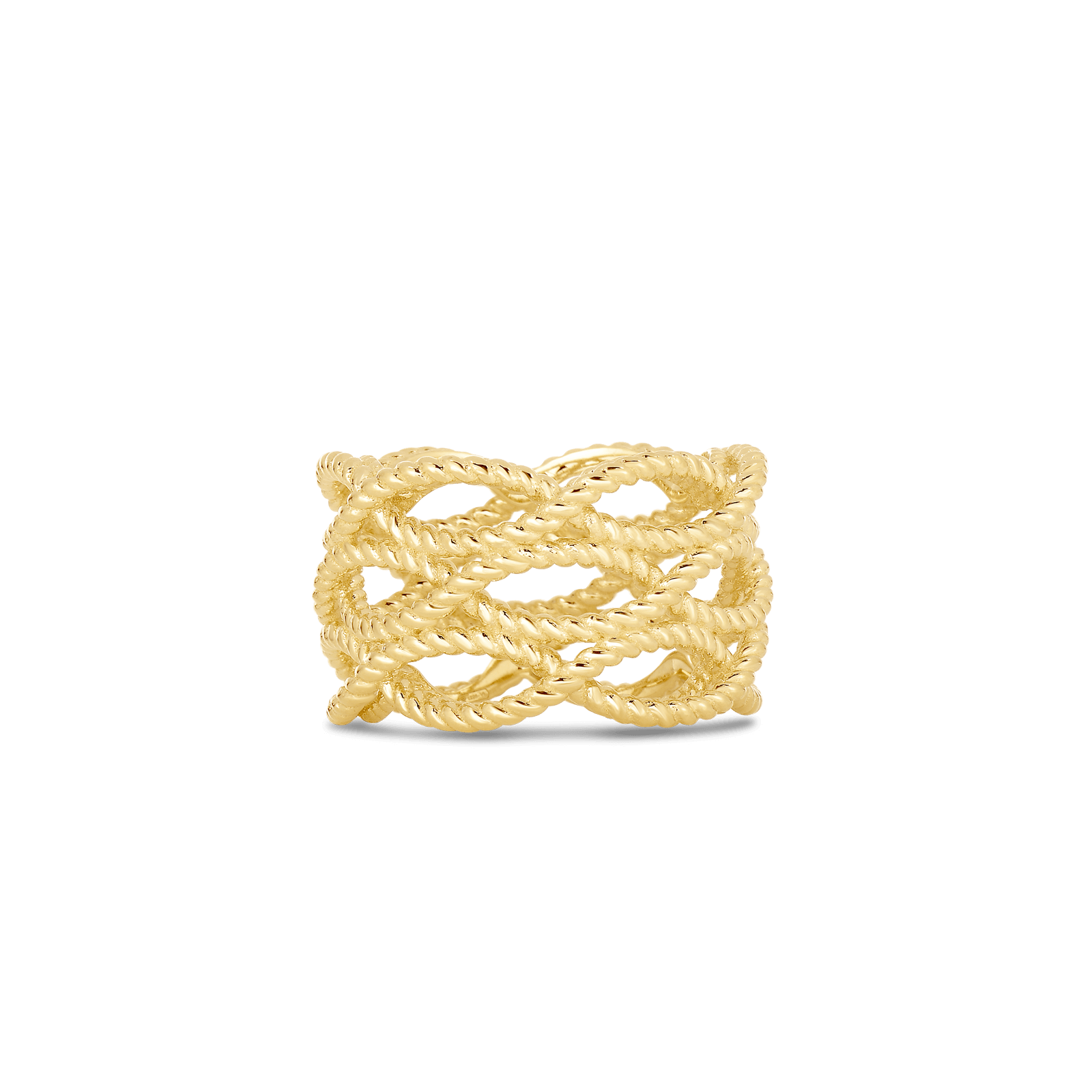 Roberto Coin Barocco 18k Rose Gold And 18k Yellow Gold 3 Row Ring