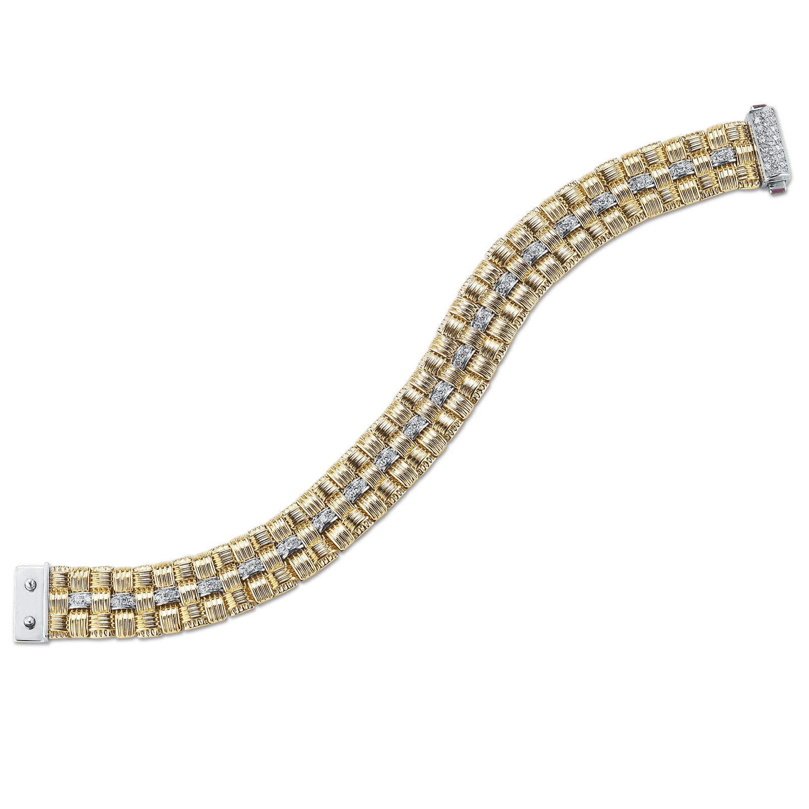 Roberto Coin S 3 Row Bracelet With Diamonds In Appassionata