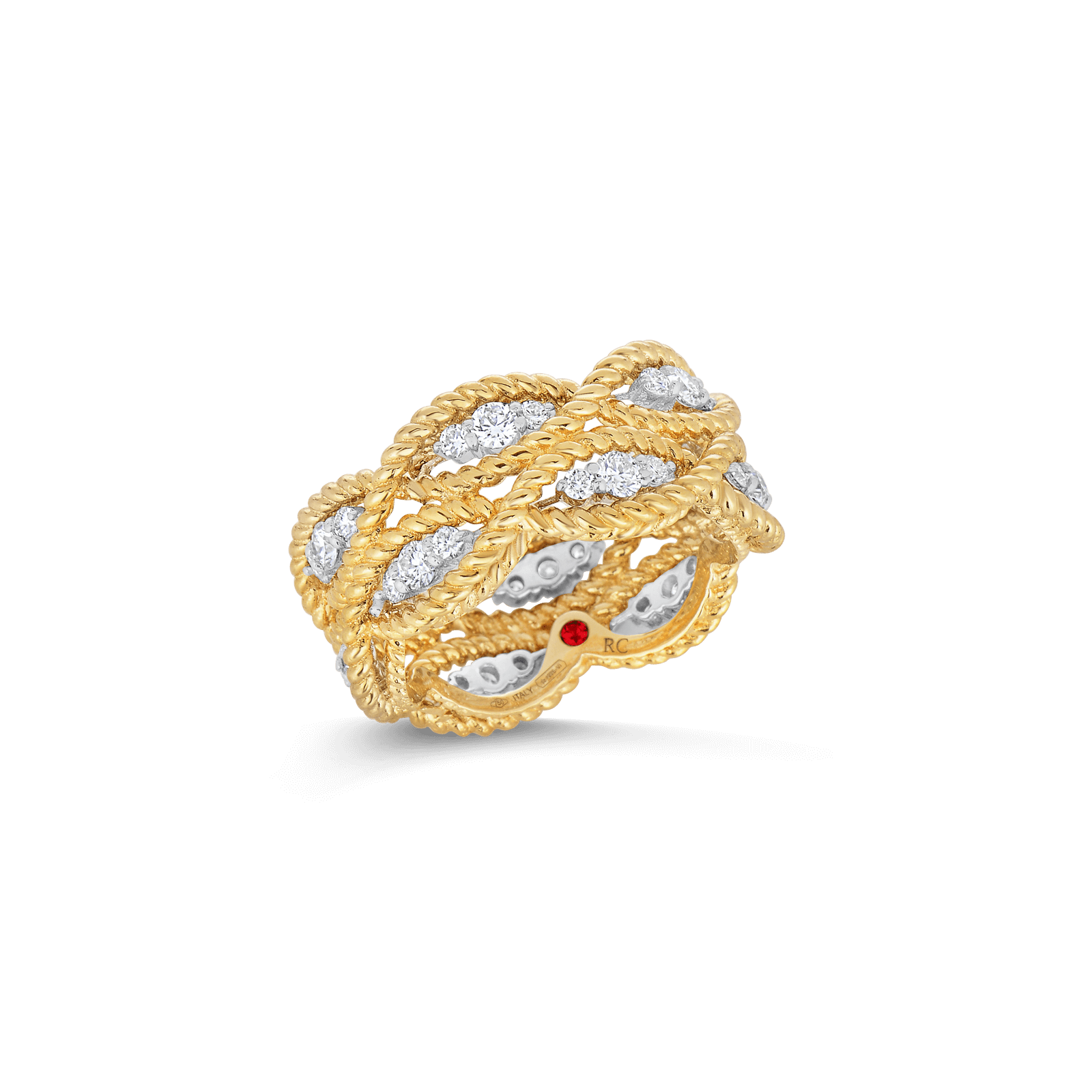 2 Row Ring With Diamonds 18k Yellow Gold, 6.5