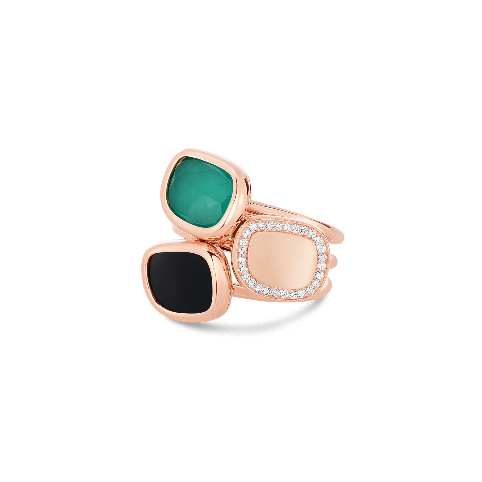 Roberto Coin Black Jade 18k Rose Gold Ring With Black Jade And Quartz And Diamonds
