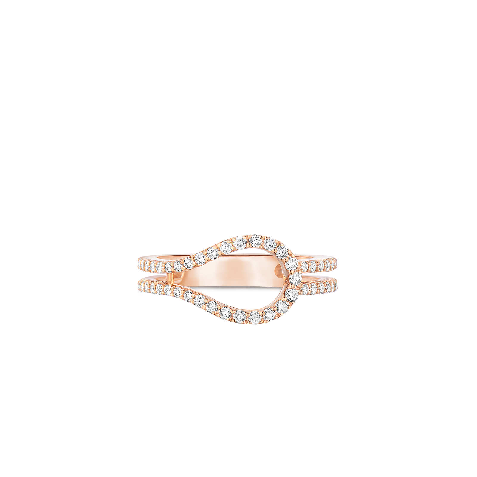 Art Deco Ring With Diamonds 18K Rose Gold 6.5