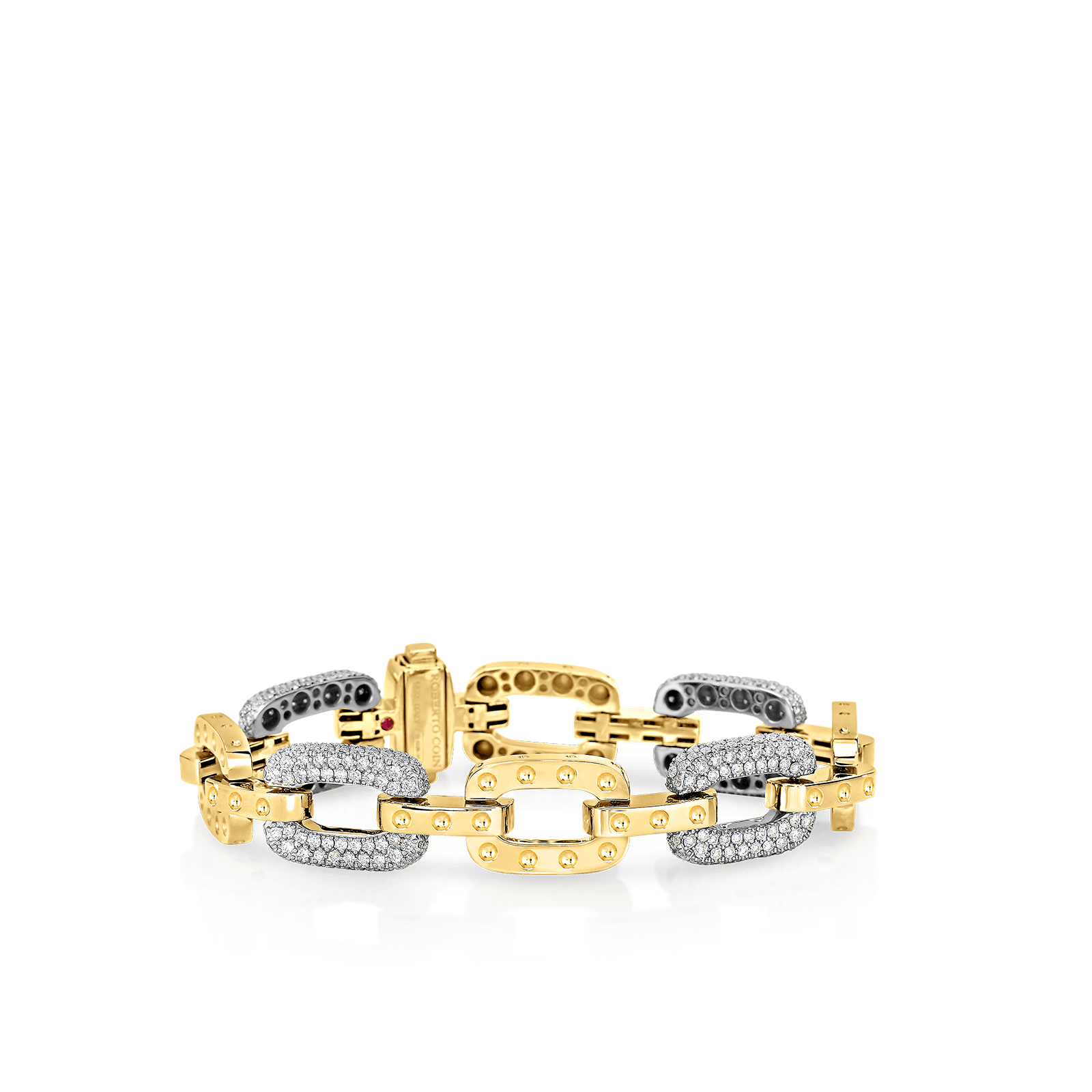 Roberto-Coin-Pois-Moi-18K-Yellow-Gold-and-18K-White-Gold-Braclet-with-5-Diamond-Links-777871AJLBX0