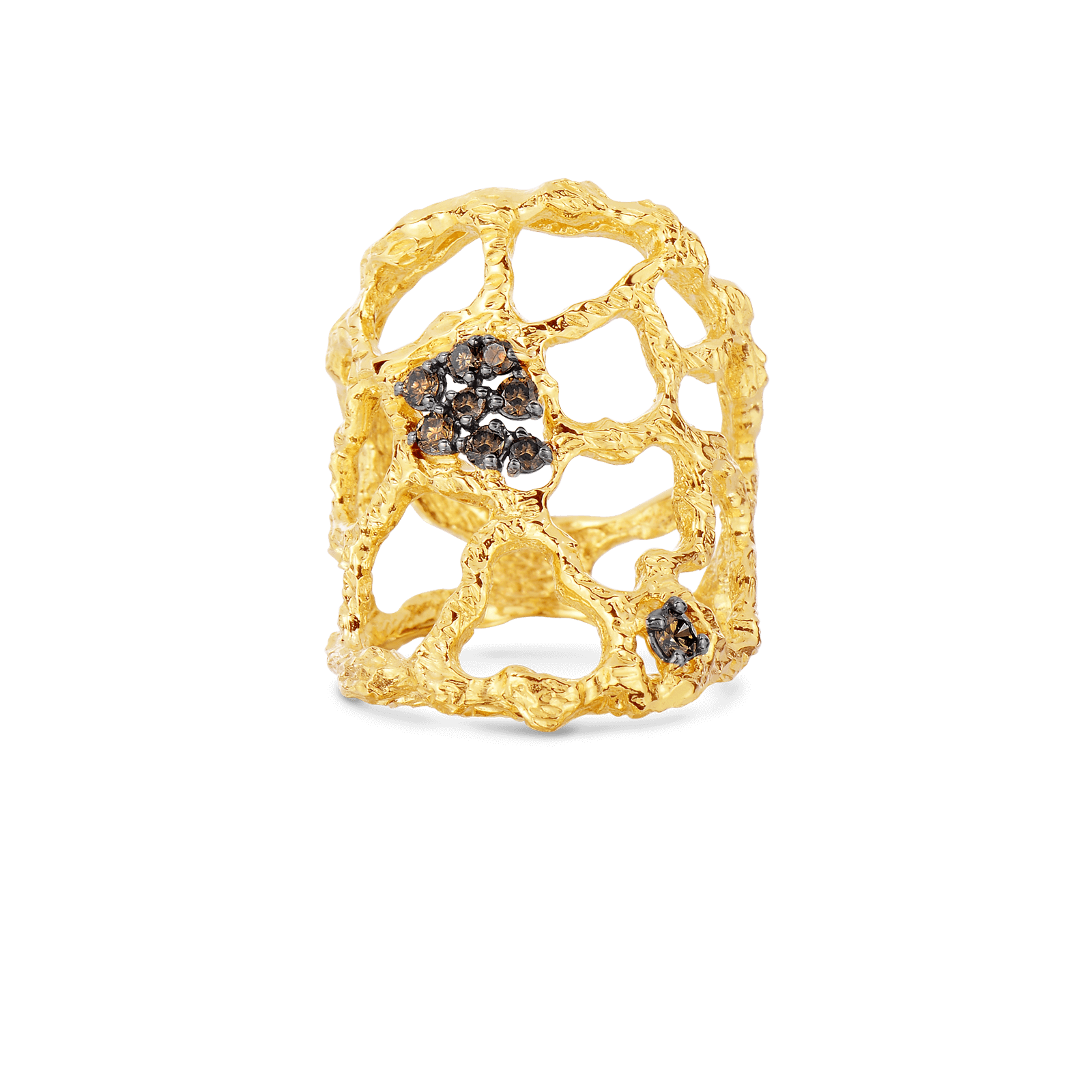 Cuff Ring With Brown Diamonds