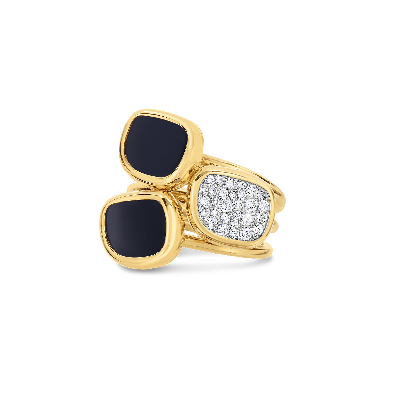 Ring With Black Jade And Diamonds