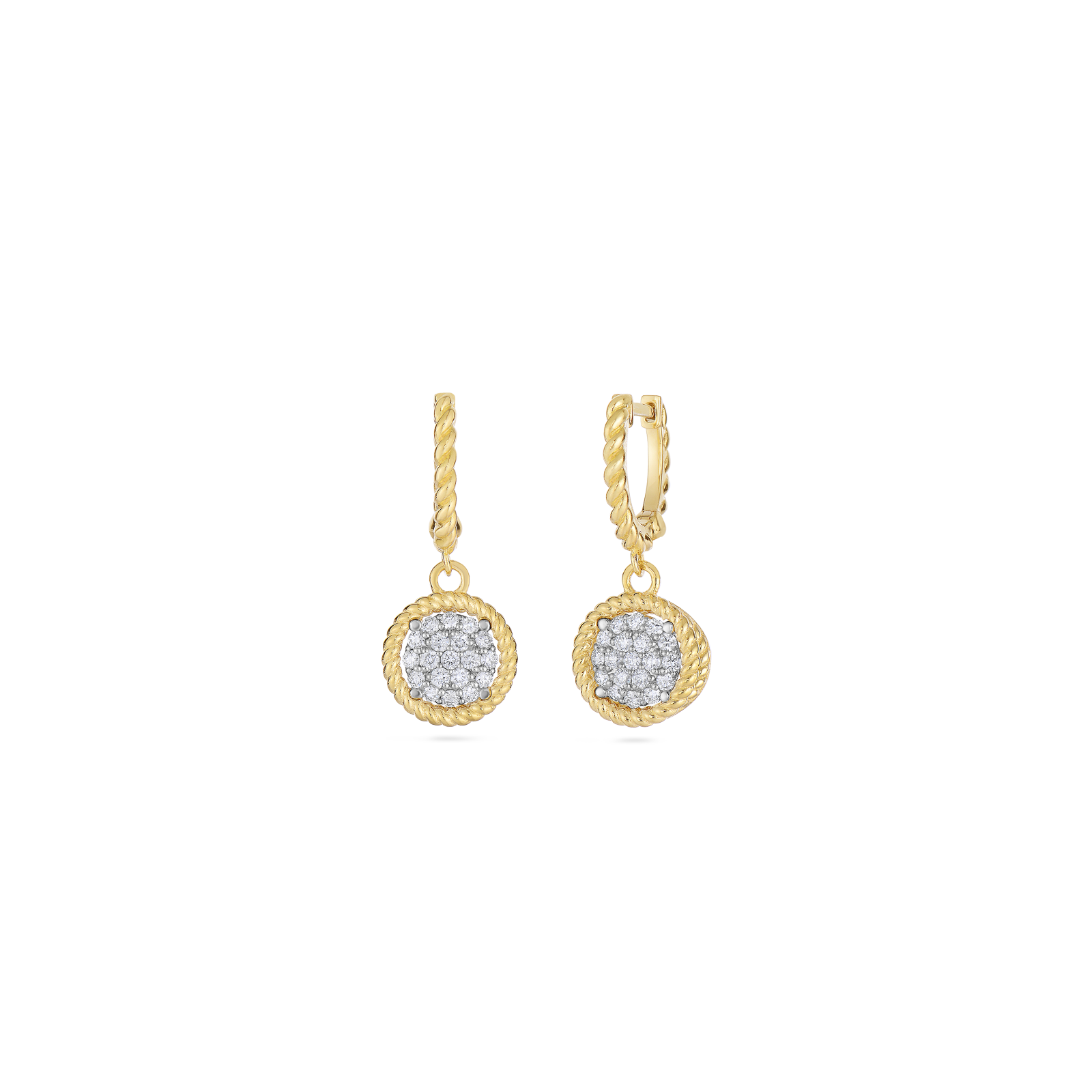 goldtone circle rose swarovski earrings product jewelry in lyst pave crystal pink gallery gold normal drop circular pav tone