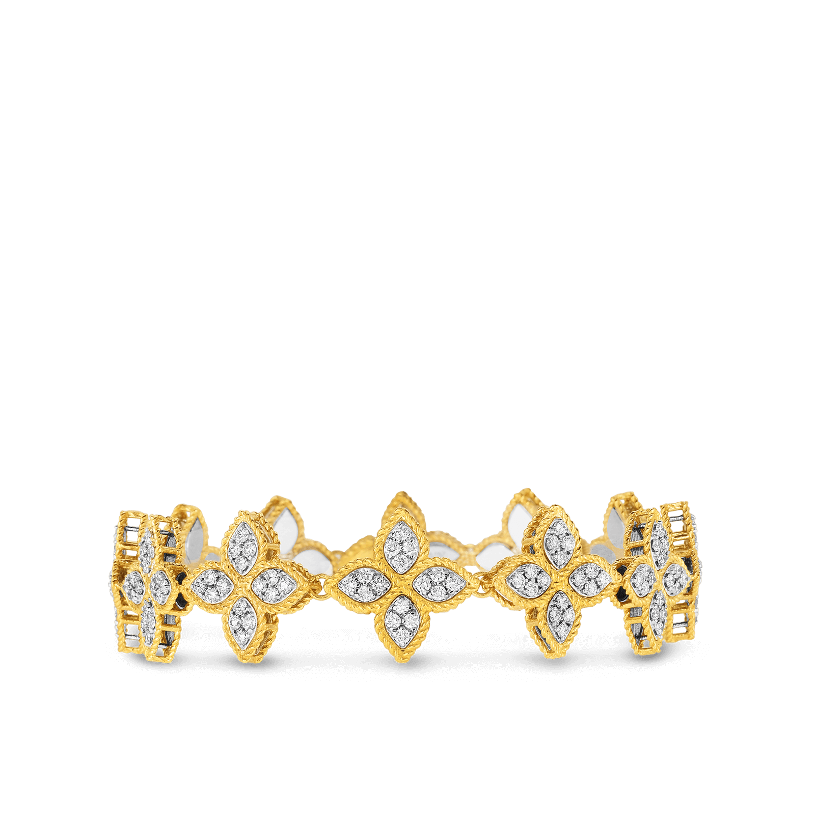 18kt Gold Ring With Black And White Fleur De Lis Diamonds