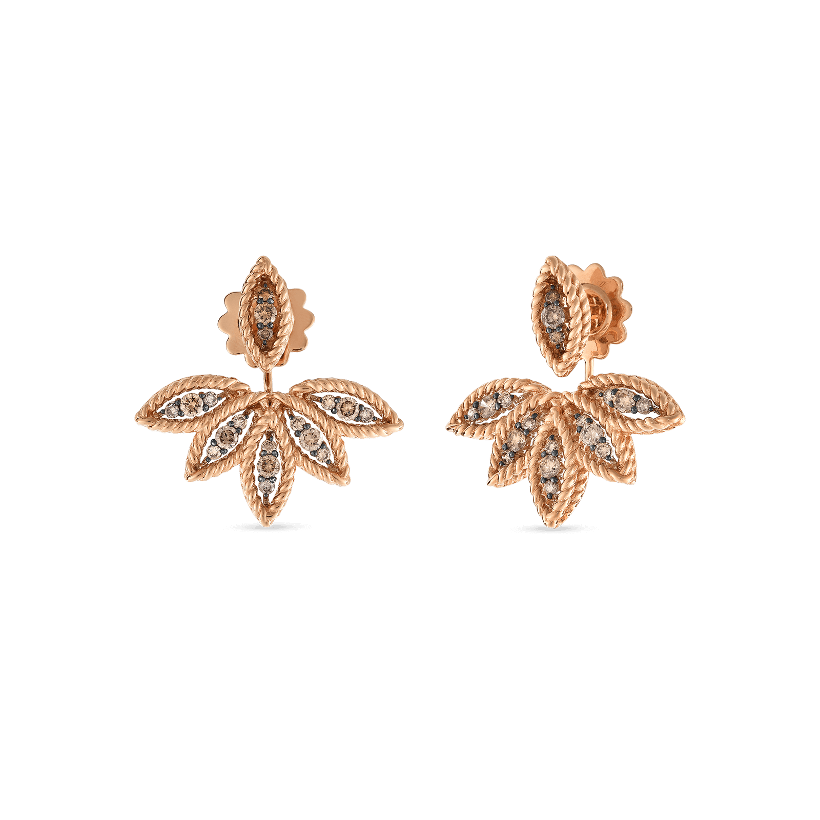 Roberto Coin 18k Rose Gold Brown Diamond Stud