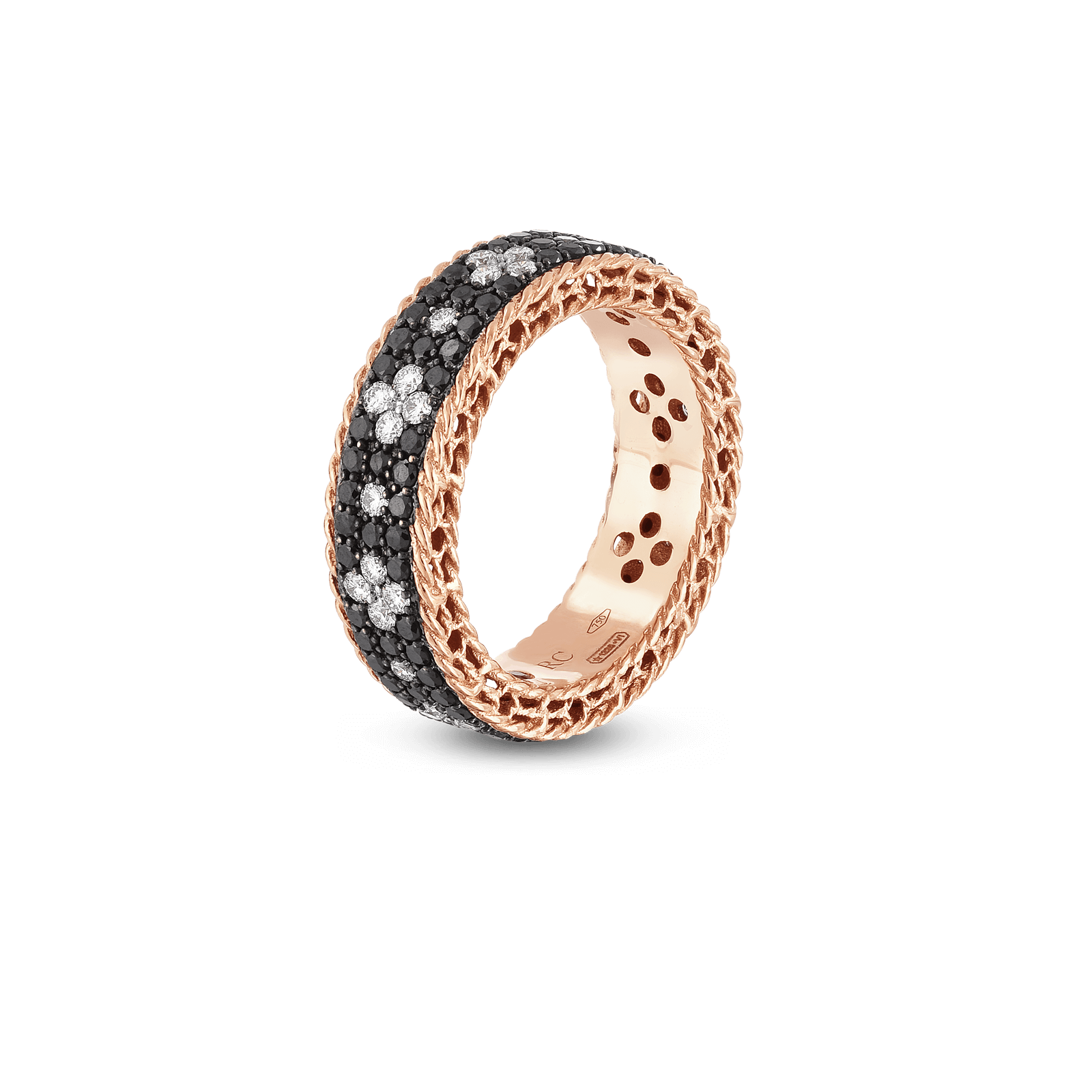 Roberto-Coin-18k-rose-gold-Ring with Fleur de Lis Diamonds-8882253AX65Xalt