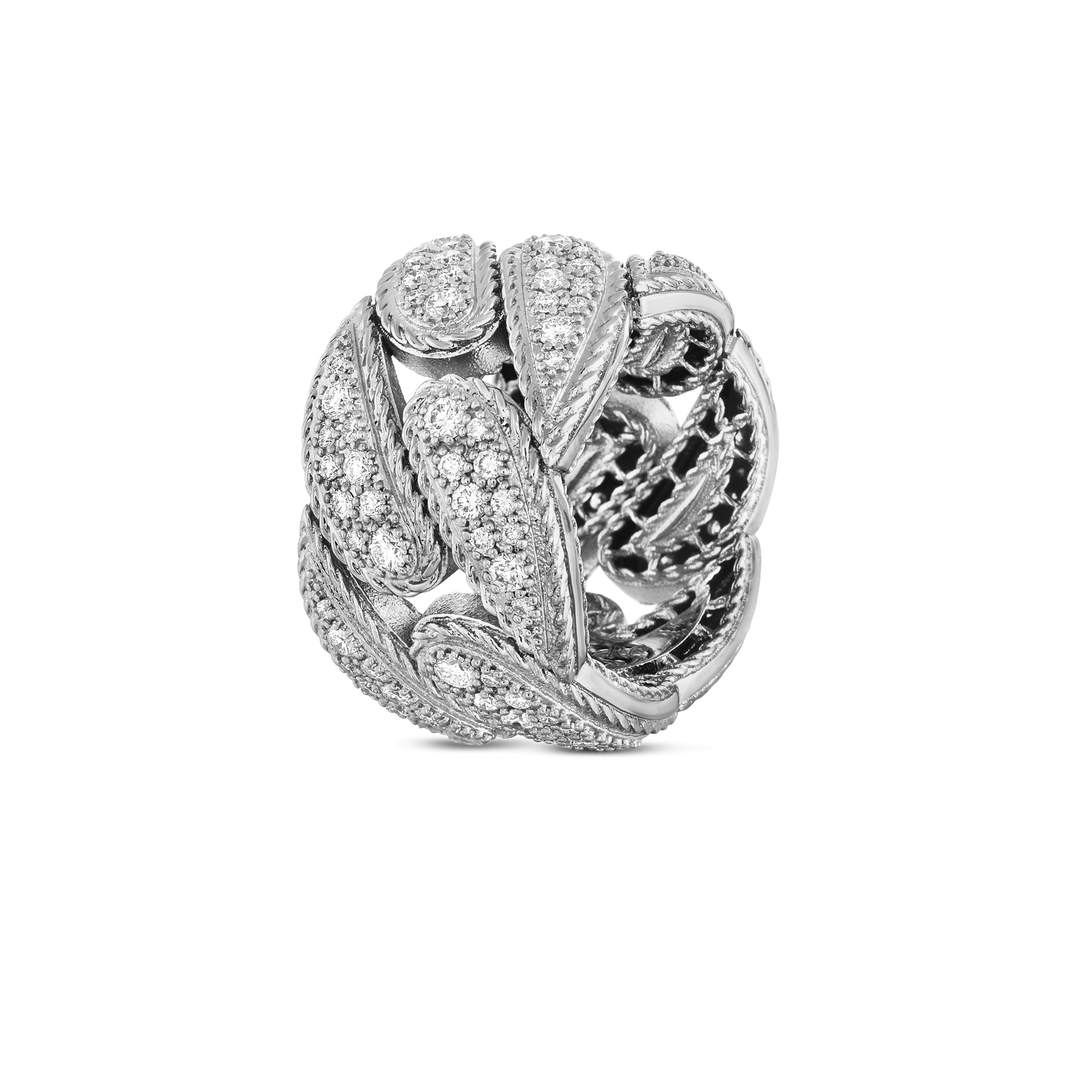 Roberto-Coin-18k-white-gold-Gourmentte Link Ring with Diamonds-8882218AW65X0alt