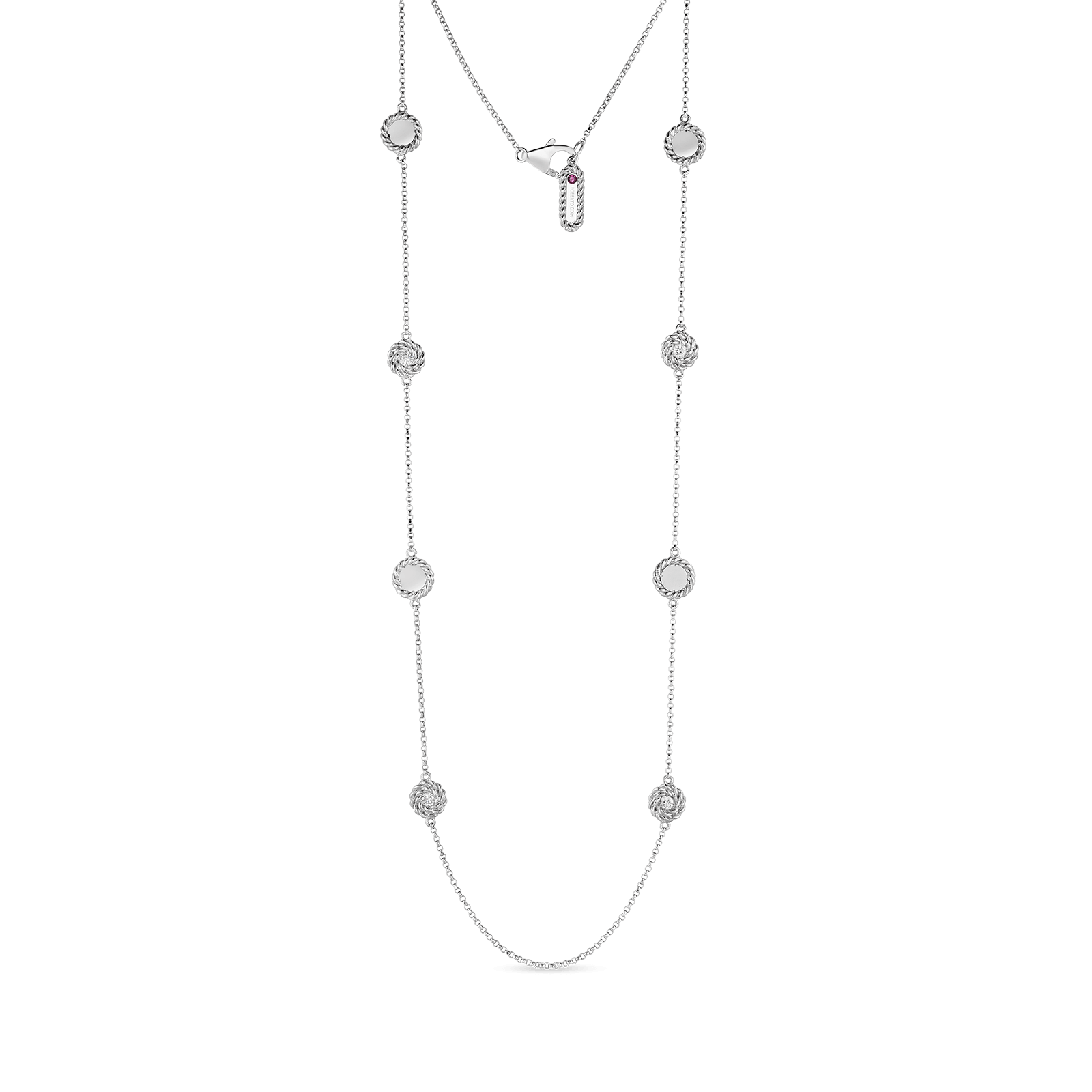 Roberto-Coin-18k-white-gold-Necklace with Alternating Diamond Stations-7771315AW35Xalt