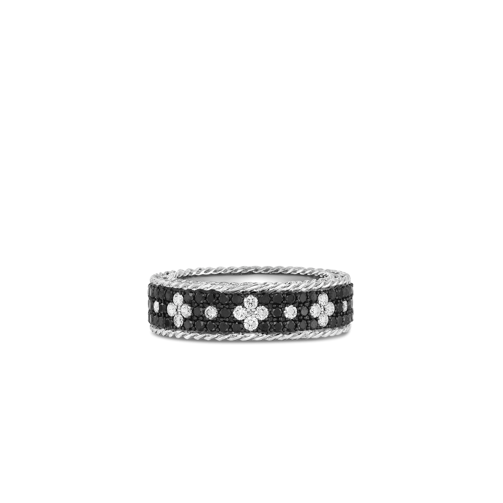 Wide Collar With Black And White Fleur De Lis Diamonds