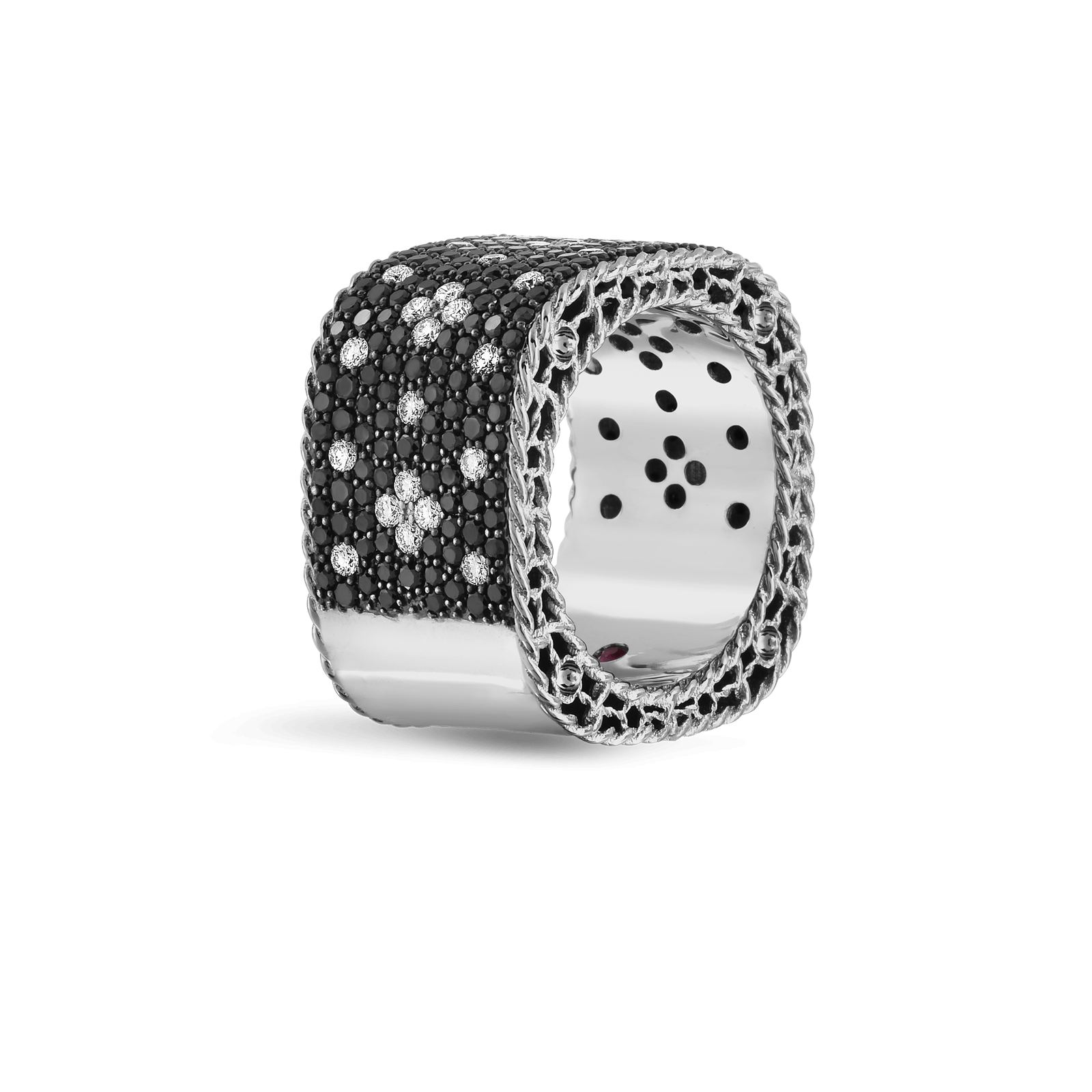 wide ring with black and white fleur de lis diamonds roberto coin
