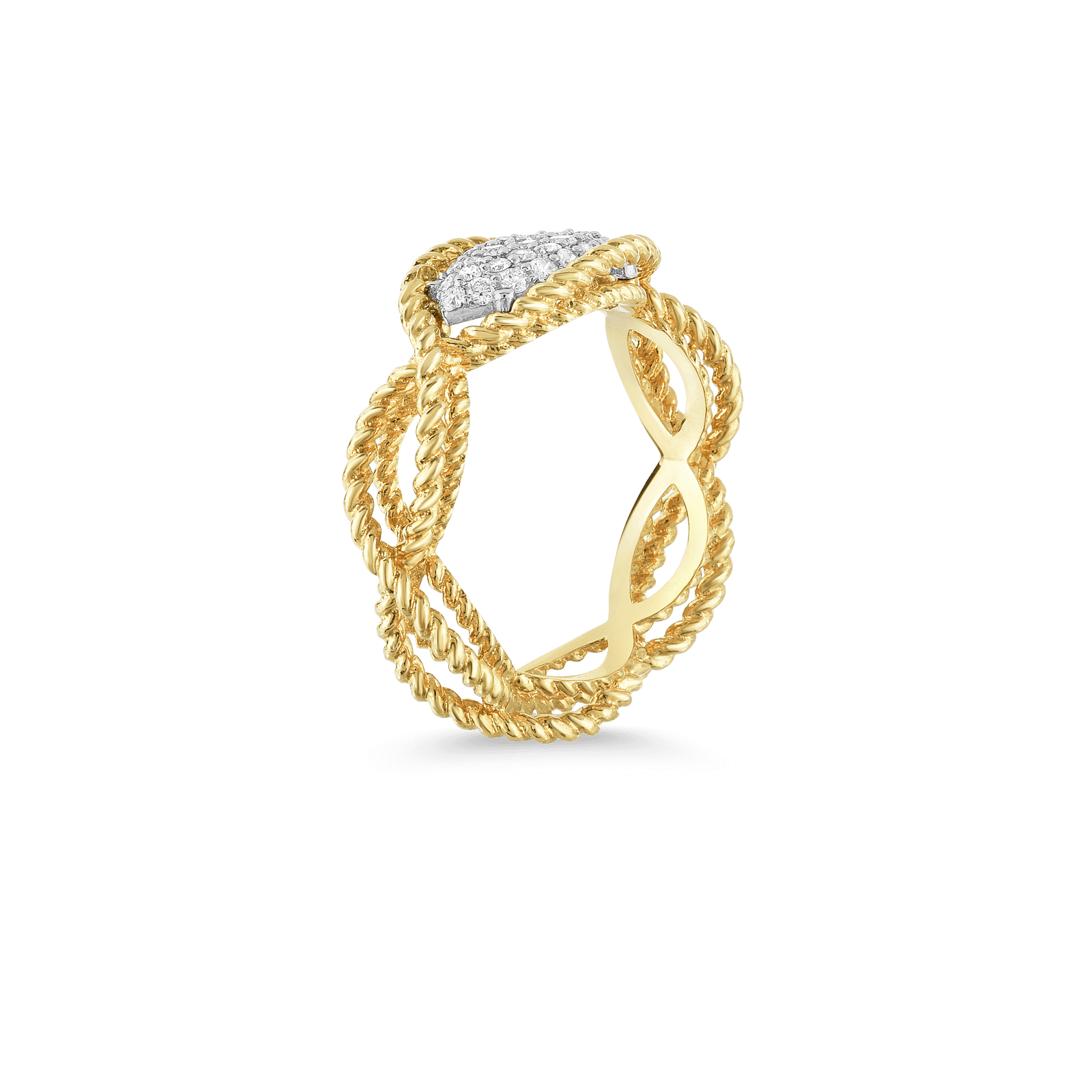 Roberto-Coin-18k-yellow-gold-18k-white-gold-1 Row Ring with Diamond Accent-7771346AJ65X-side