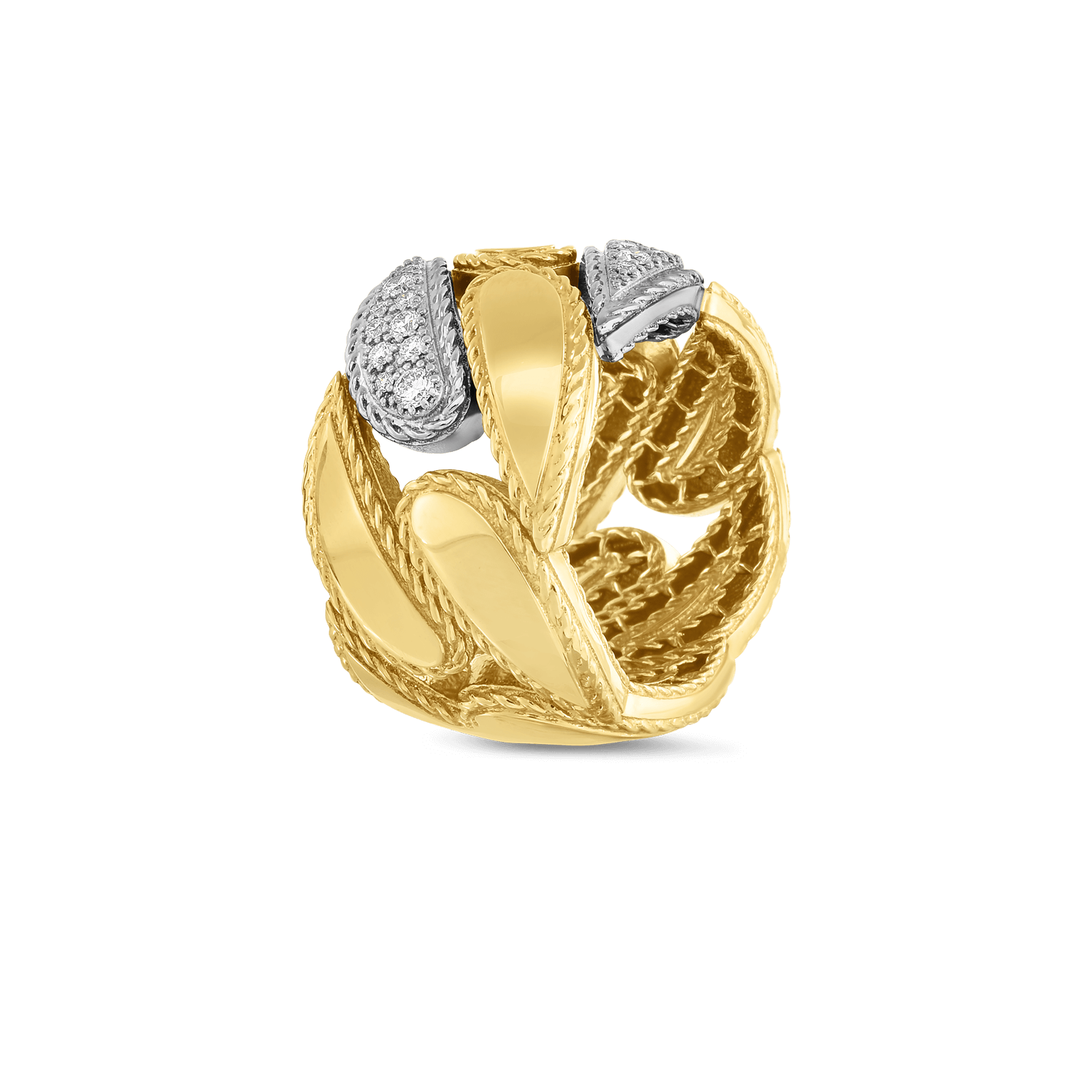 Roberto-Coin-18k-yellow-gold-18k-white-gold-Gourmentte Link Ring with Diamonds-8882219AJ65X0alt
