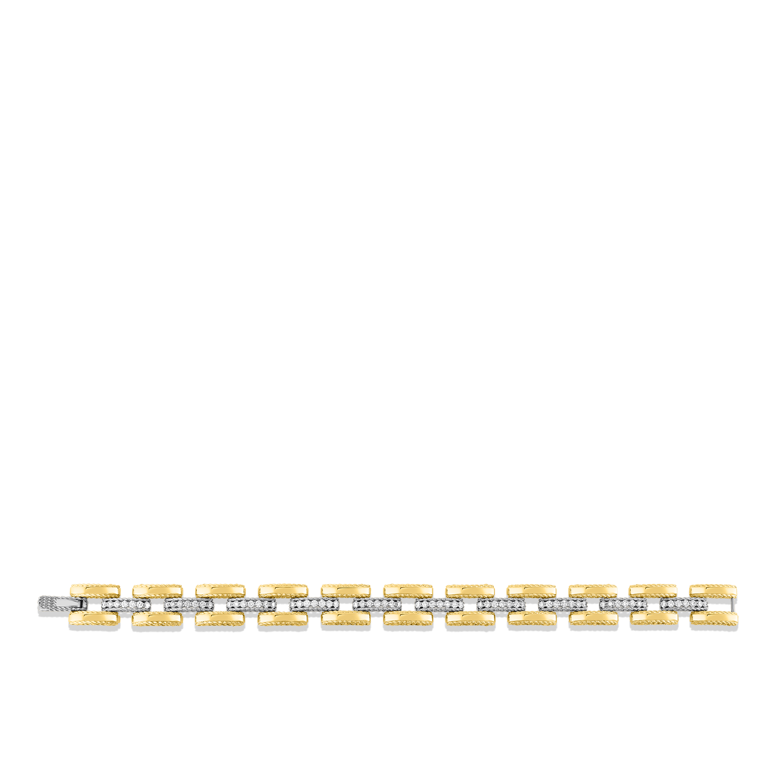 Roberto-Coin-18k-yellow-gold-18k-white-gold-Slim Retro Link Bracelet with Diamonds-7771395AJLBXalt