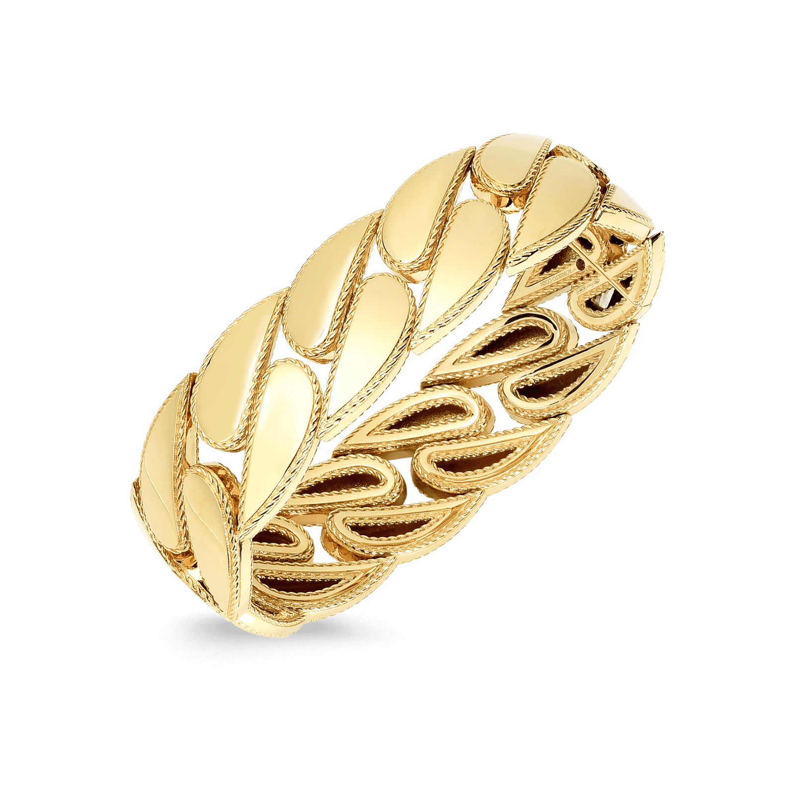 18K Roberto Coin Designer Gold Ring With Diamonds
