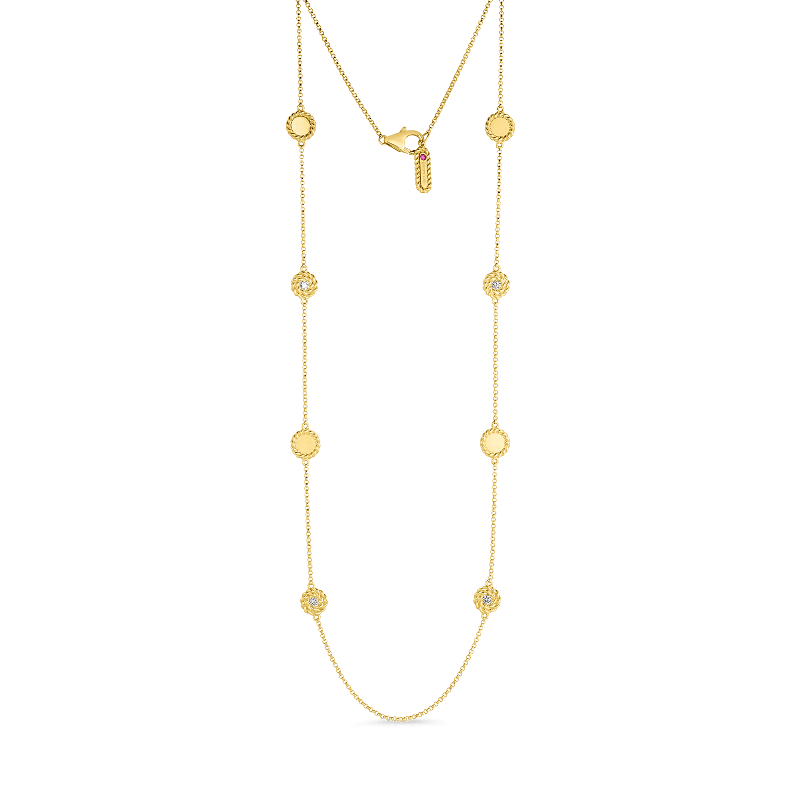 Roberto-Coin-18k-yellow-gold-Necklace with Alternating Diamond Stations-7771315AY35Xalt