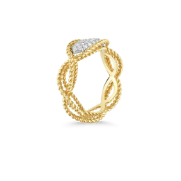 18K 1 Row Yellow Gold Ring With Diamonds